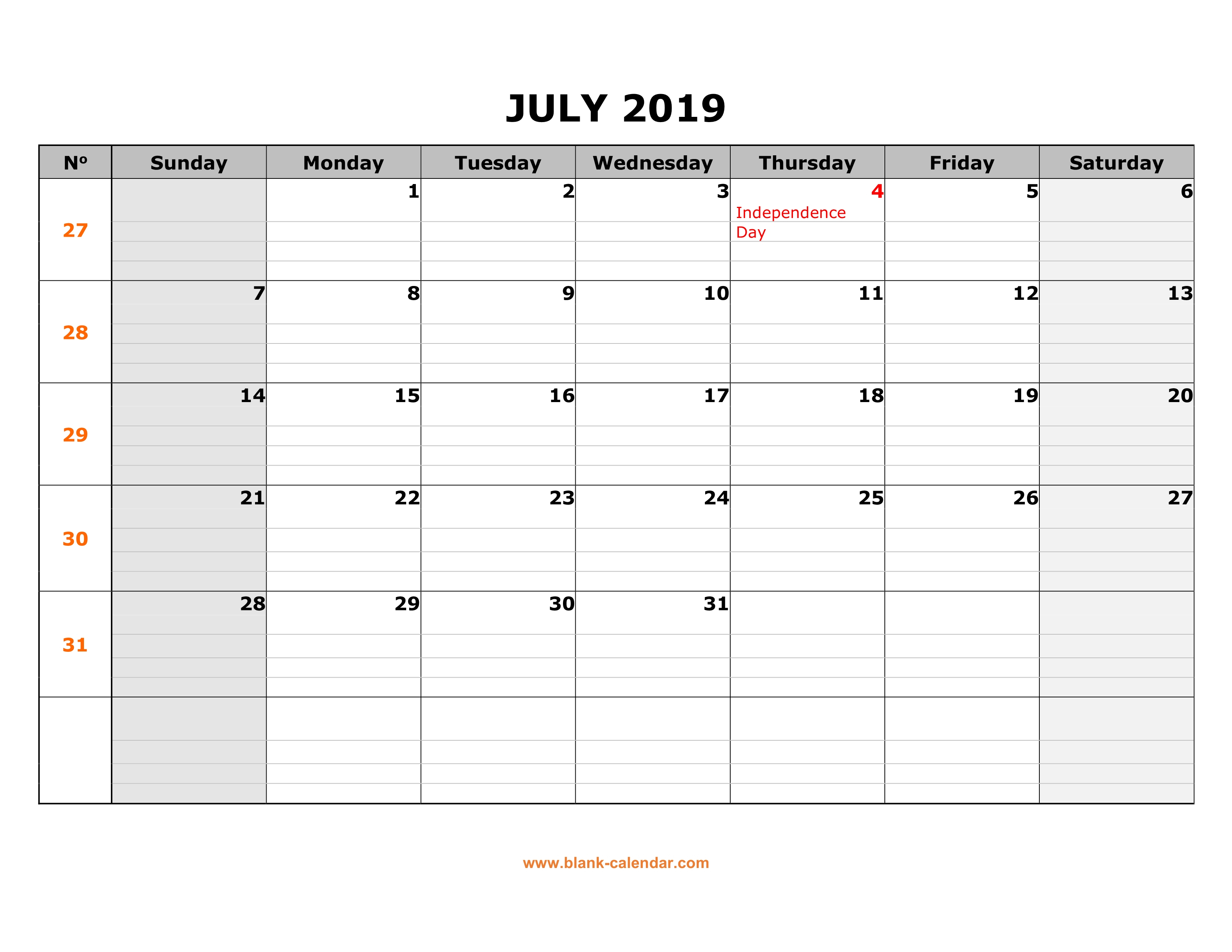 Free Download Printable July 2019 Calendar, Large Box Grid, Space throughout Printable Blank 31 Day Calendar