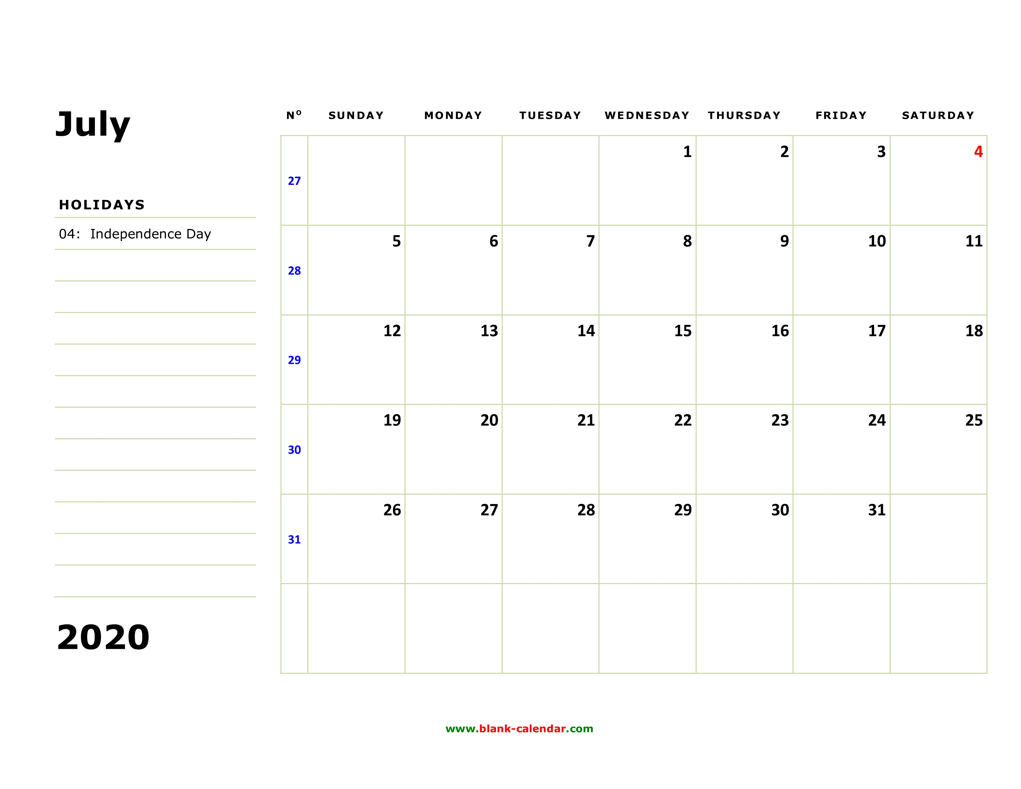 Free Download Printable July 2020 Calendar, Large Box, Holidays regarding 2020 Free Printable Calendar Large Numbers