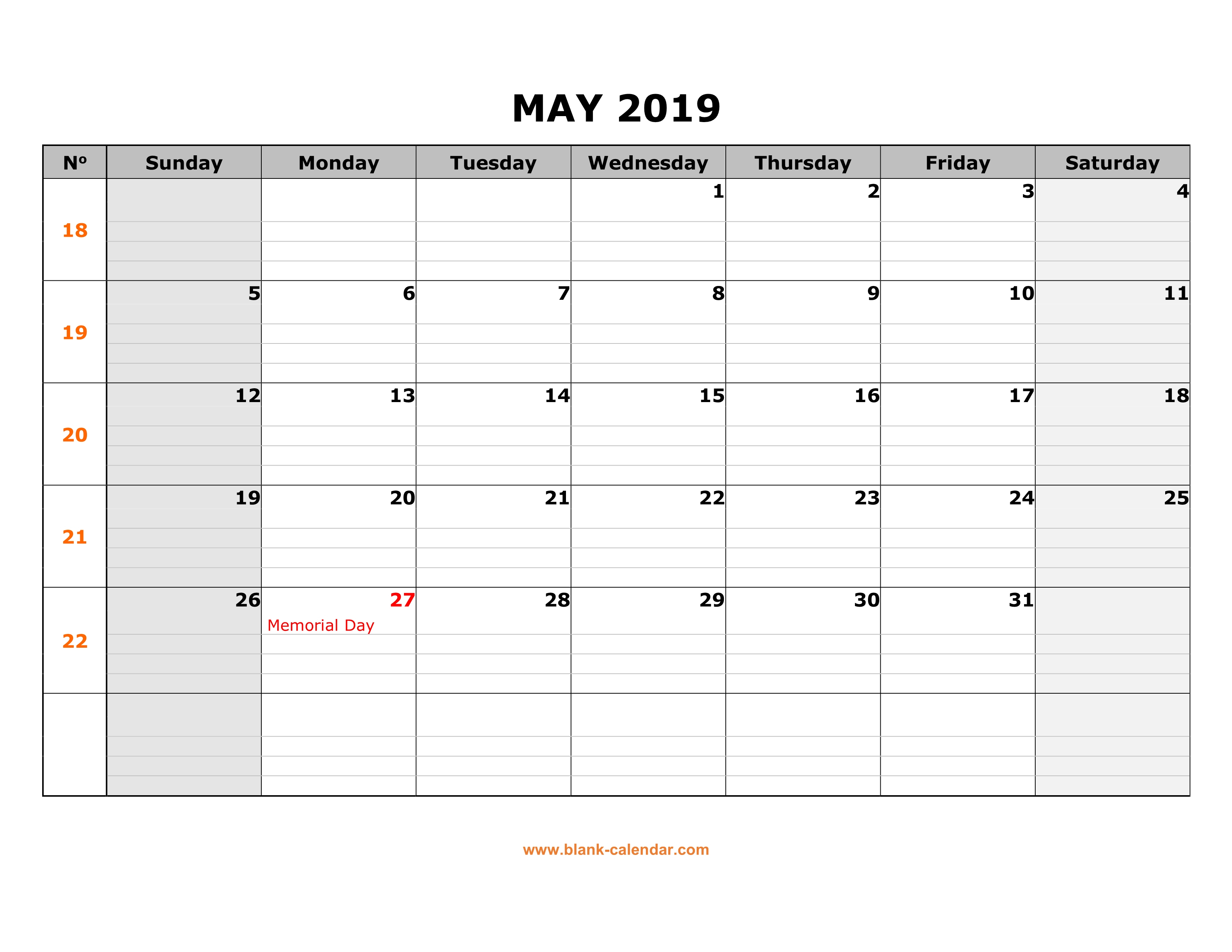 Free Download Printable May 2019 Calendar, Large Box Grid, Space For intended for Blank Calendar To Fill In