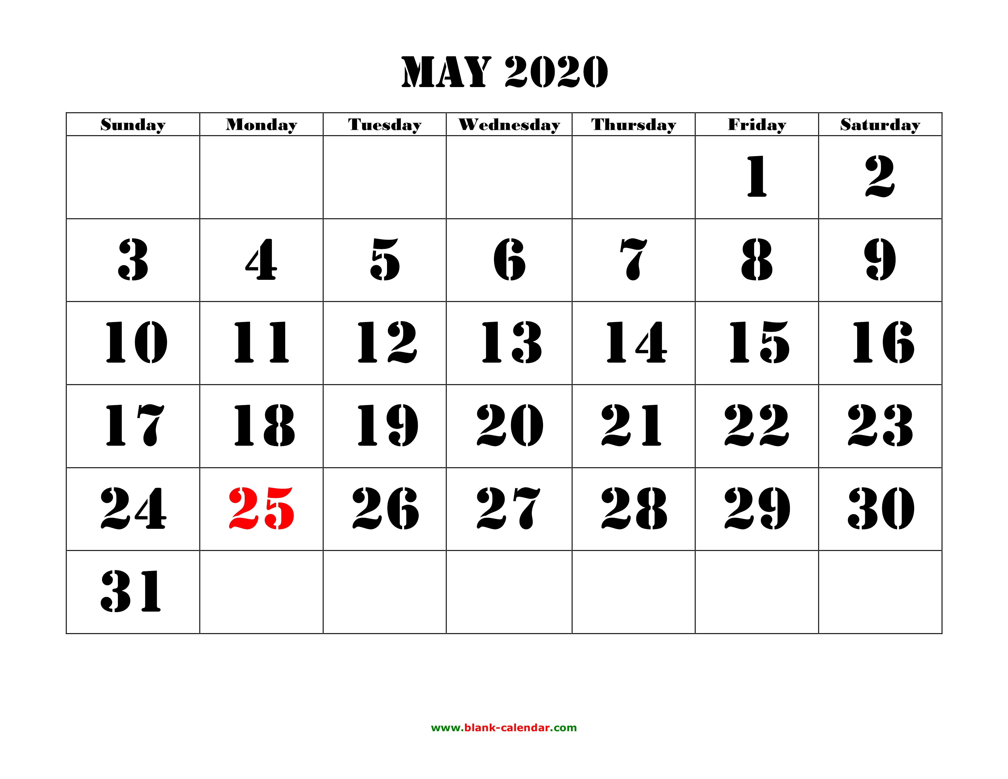 Free Download Printable May 2020 Calendar, Large Font Design for 2020 Free Printable Calendar Large Numbers