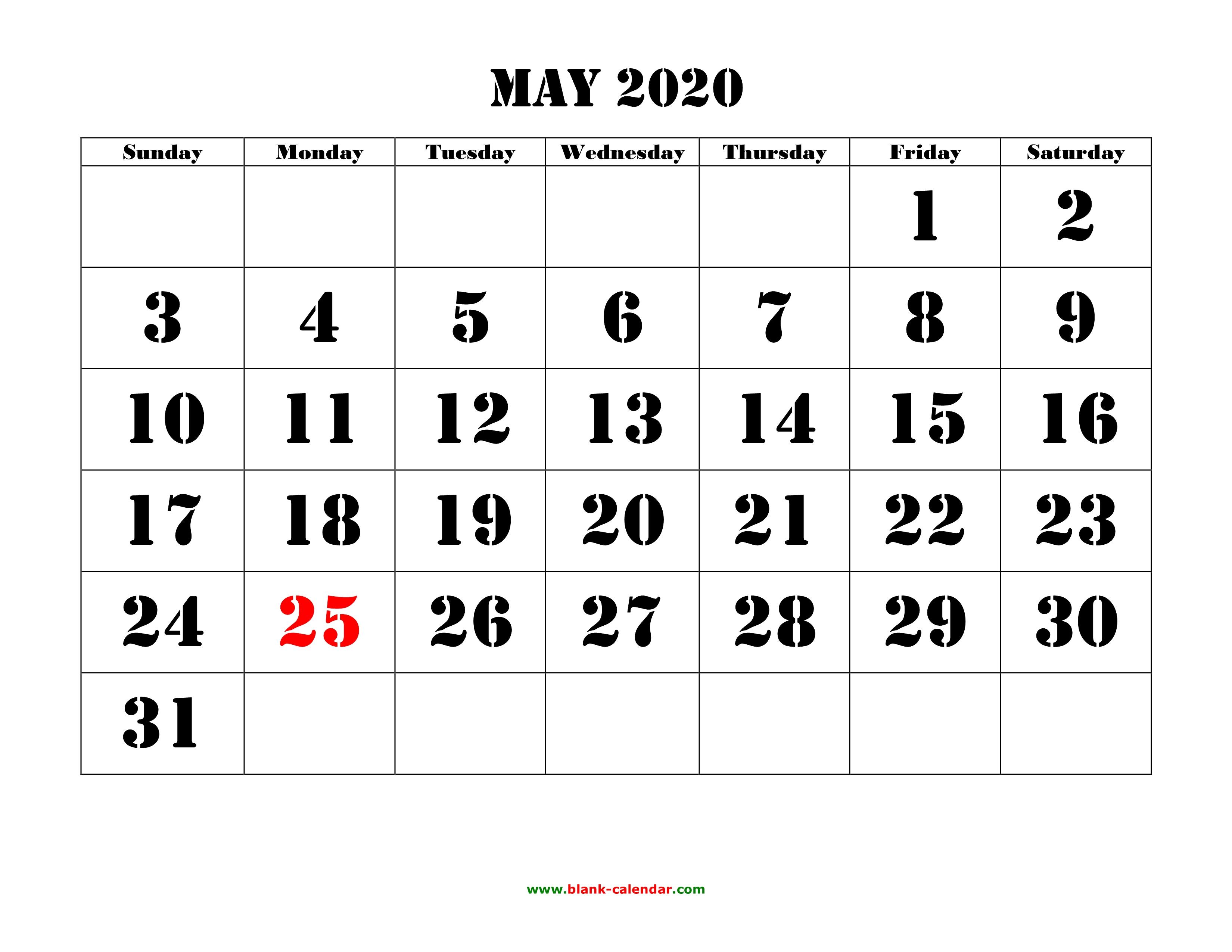 Free Download Printable May 2020 Calendar, Large Font Design for 2020 Free Printable Calendar Large Numbers