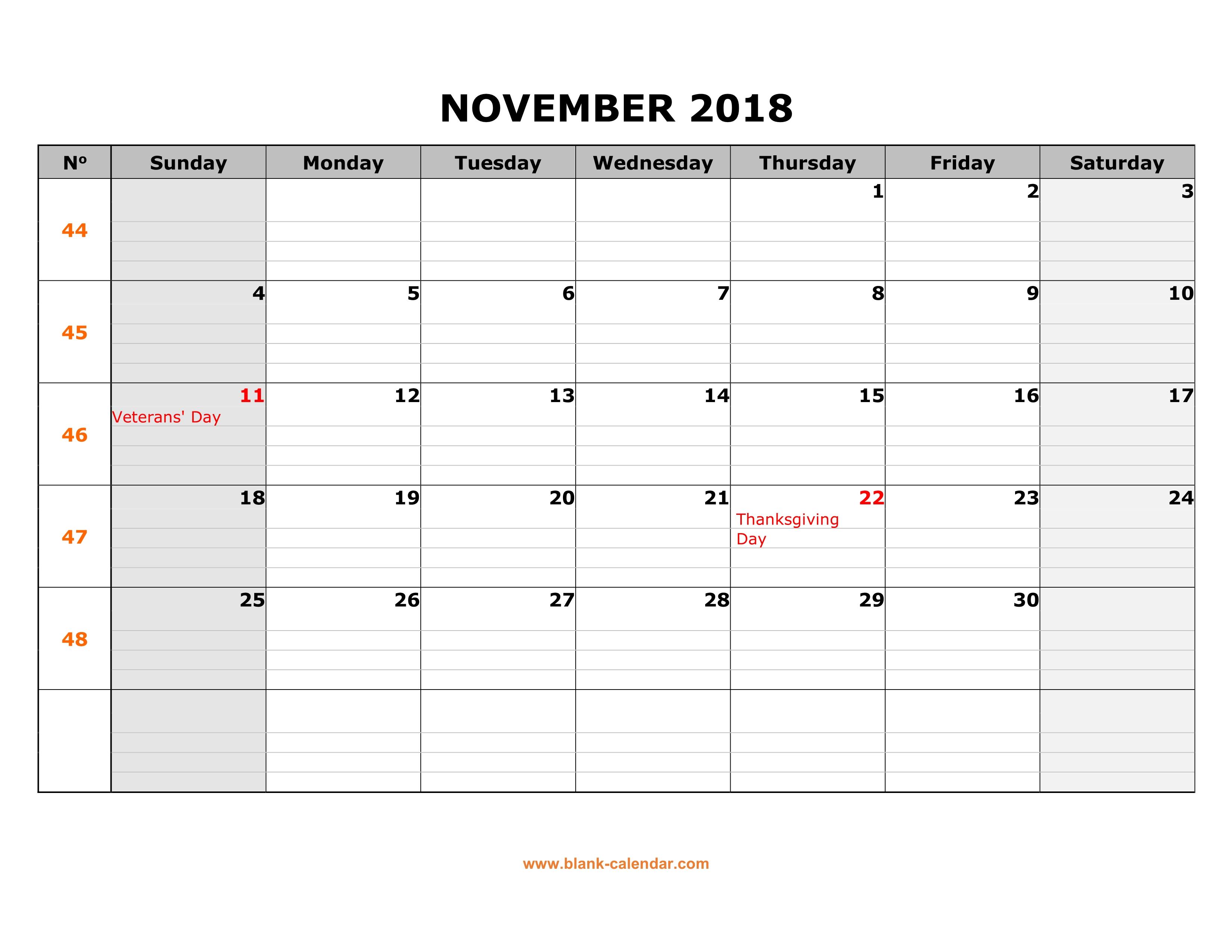 Free Download Printable November 2018 Calendar, Large Box Grid in Monday To Sunday Calendar Template November