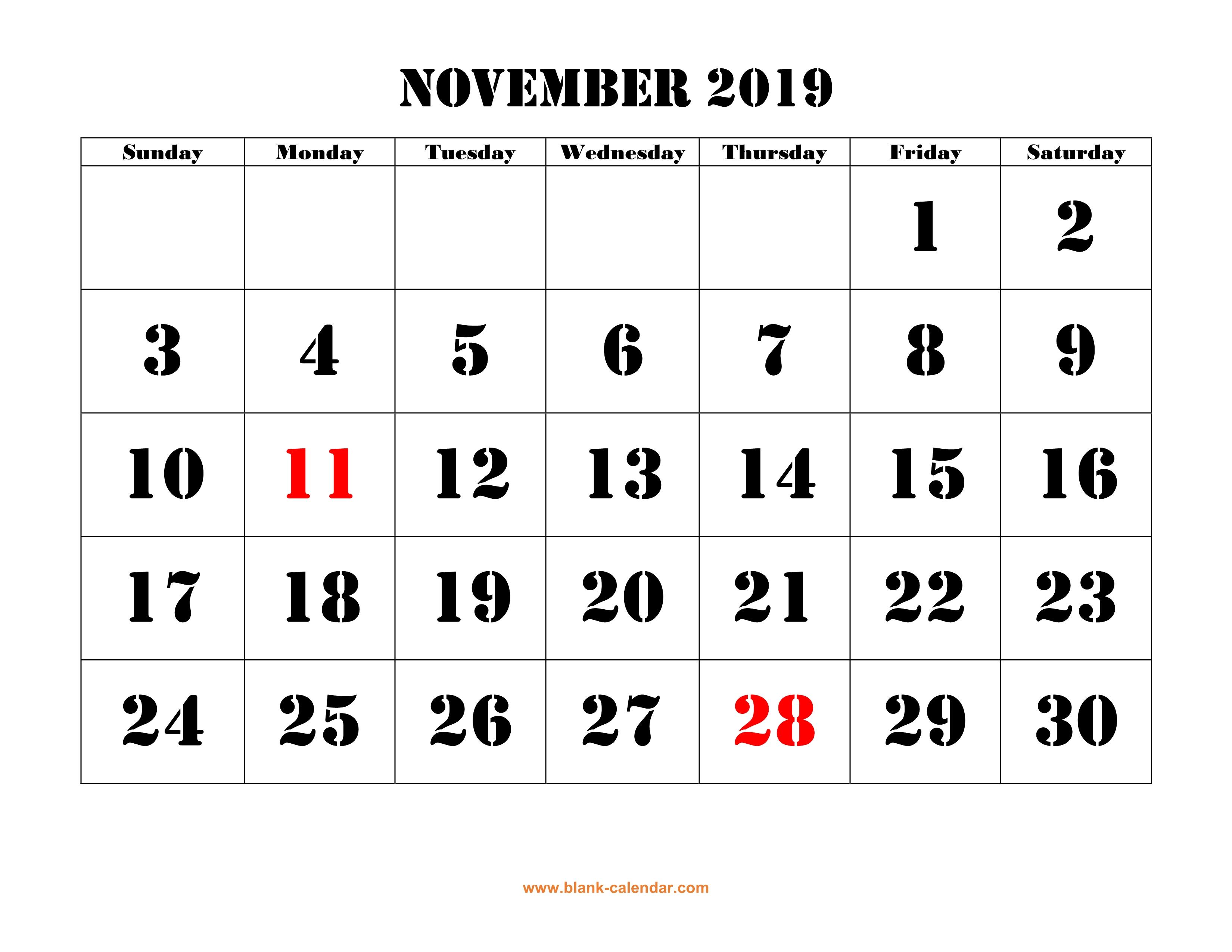 Free Download Printable November 2019 Calendar, Large Font Design for Blank Printable November Calendar