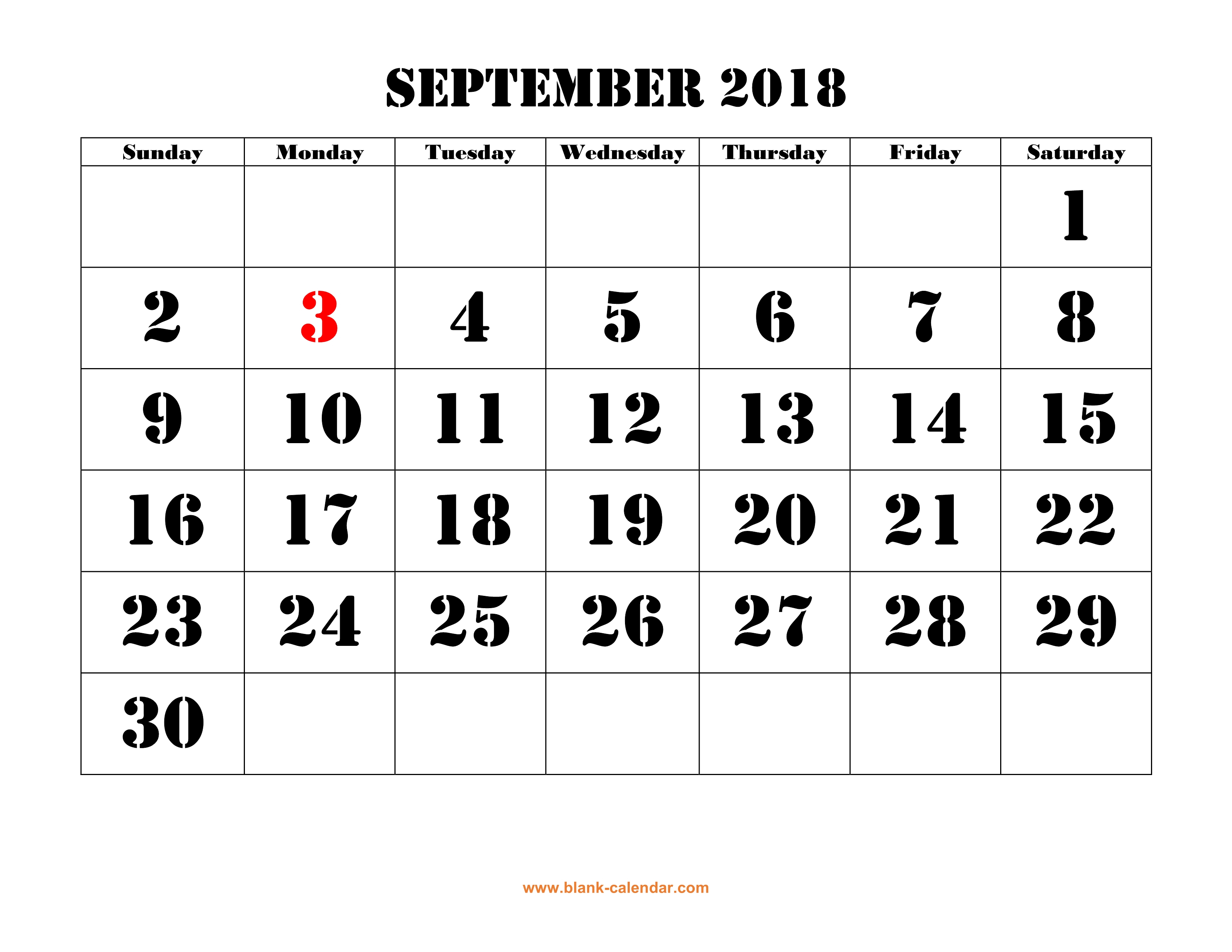 Free Download Printable September 2018 Calendar, Large Font Design in Blank September Calendar Printable With Holidays