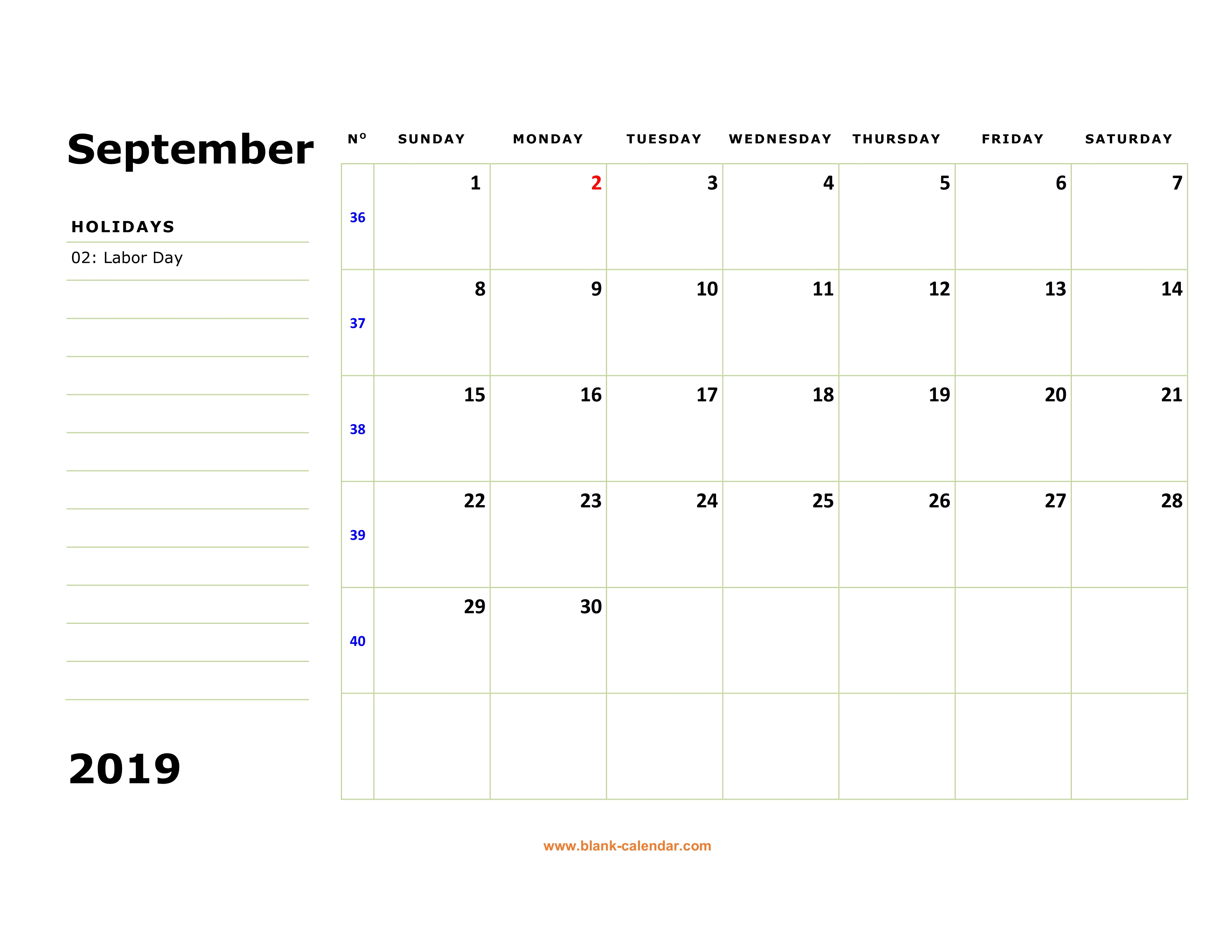 Free Download Printable September 2019 Calendar, Large Box, Holidays regarding Printable Blank September Calendar