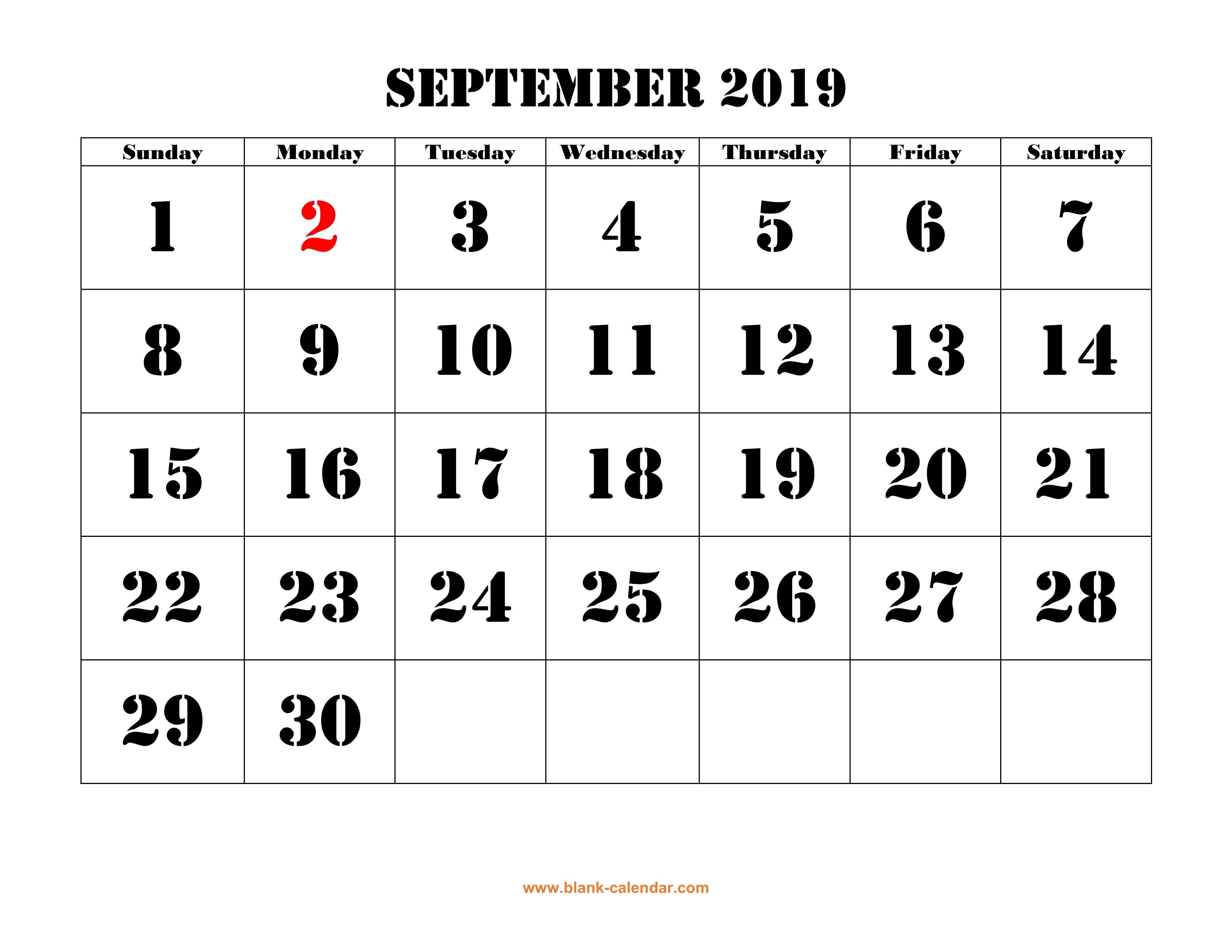 Free Download Printable September 2019 Calendar, Large Font Design regarding Blank September Calendar Printable With Holidays