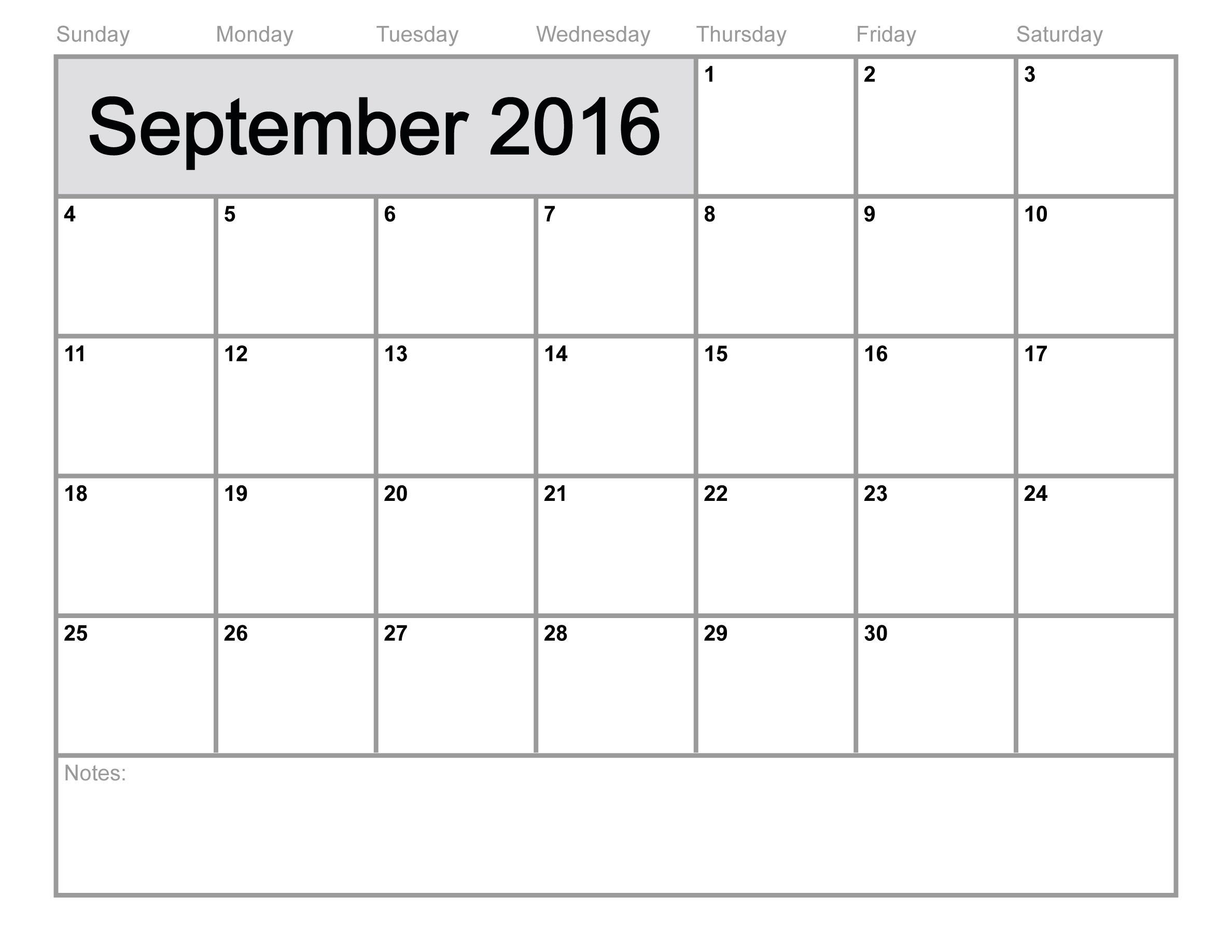 Free Download September 2016 Calendar, Template & Printable From Our regarding Monthly Calendar Template Novb