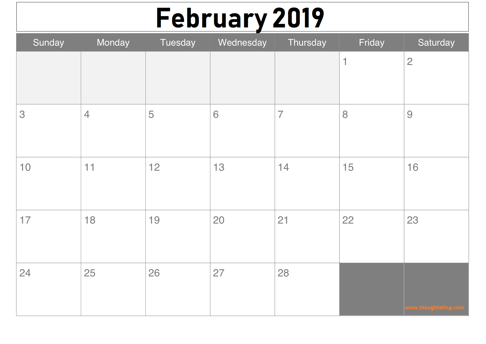 Free Editable February 2019 Calendar - Free Printable Calendar for Blank Bold December Calendar