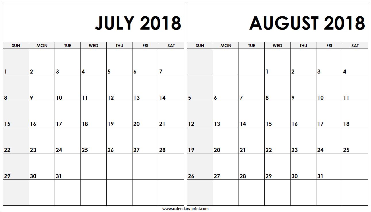 Free Editable July August 2018 Calendar Printable Templates within Printable July Augsut September Calendar Template