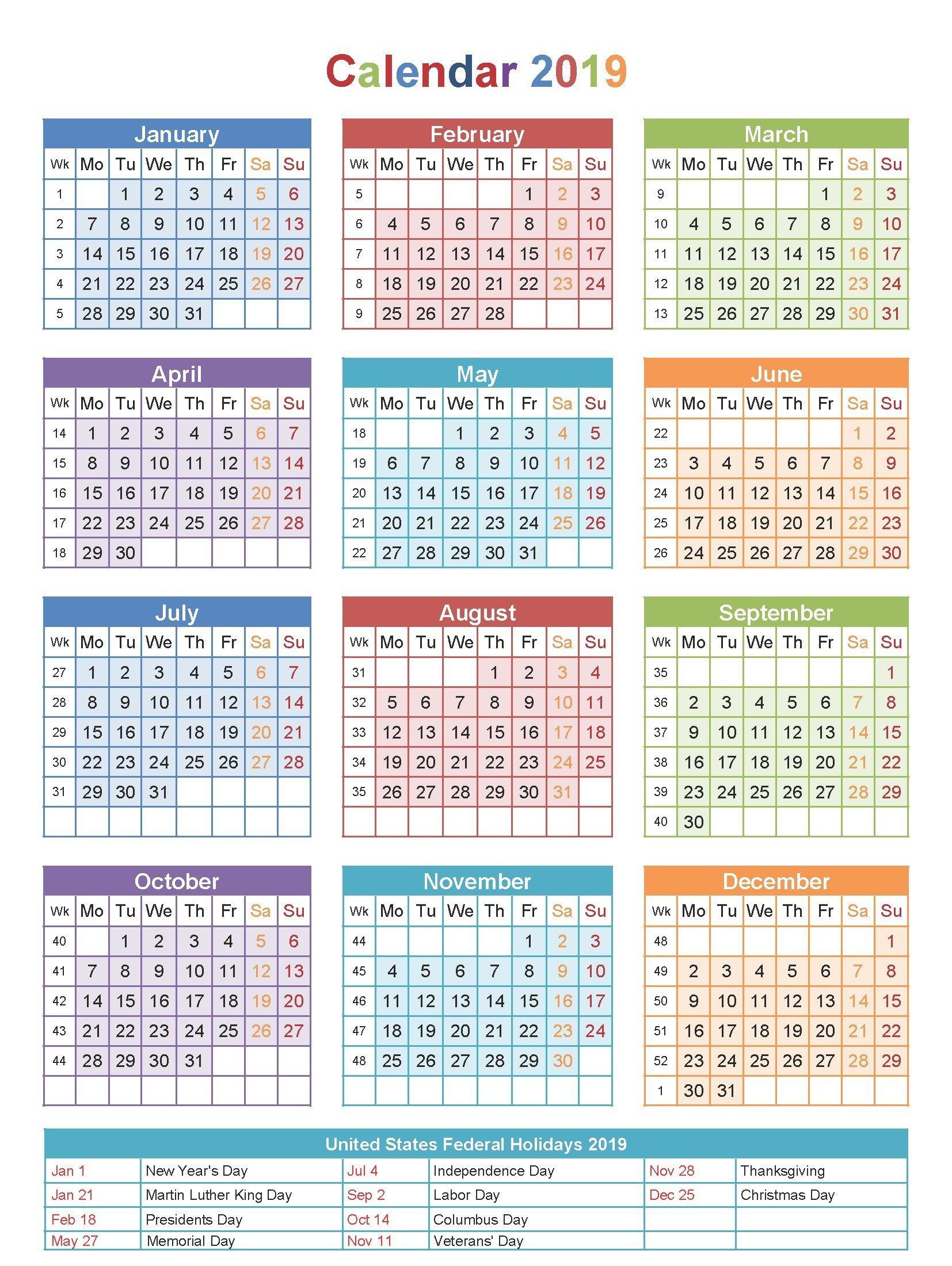 Free Editable Usa 2019 Calendar Pdf, Excel, Word Templates | Govind for Calendar With Holidays Templates