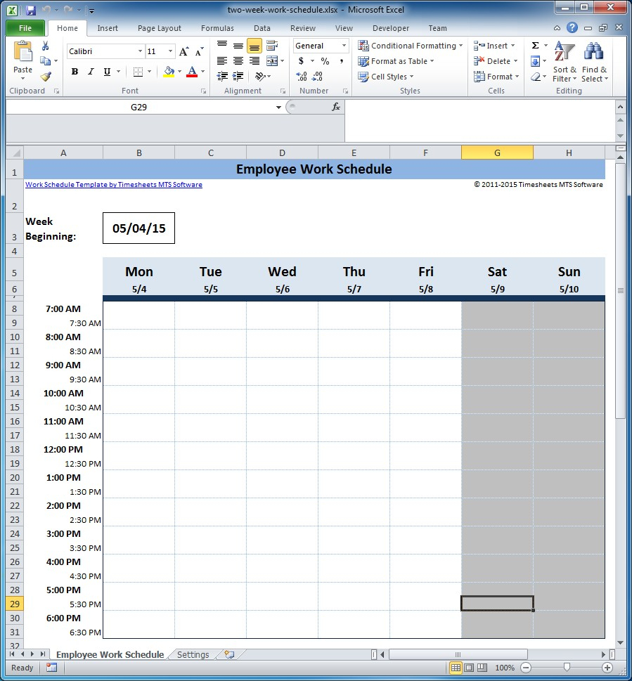 Free Employee And Shift Schedule Templates with 2 Week Work Schedule Templates