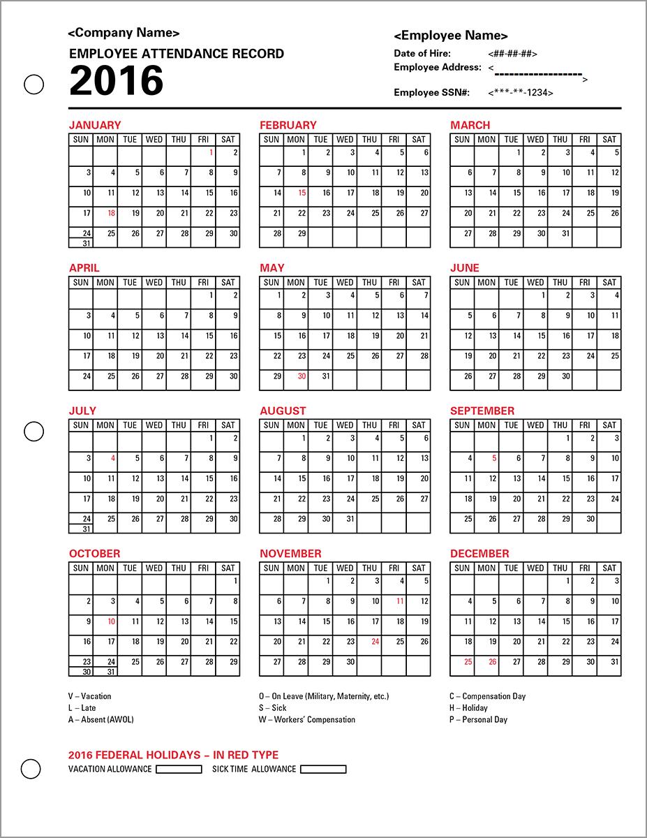 Free Employee Attendance Calendar Template | Calendar Template 2019 throughout Printable Employee Attendance Calendar Template