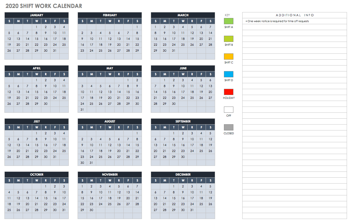 Free Excel Calendar Templates for Free Shift 2020 Shift Calendar