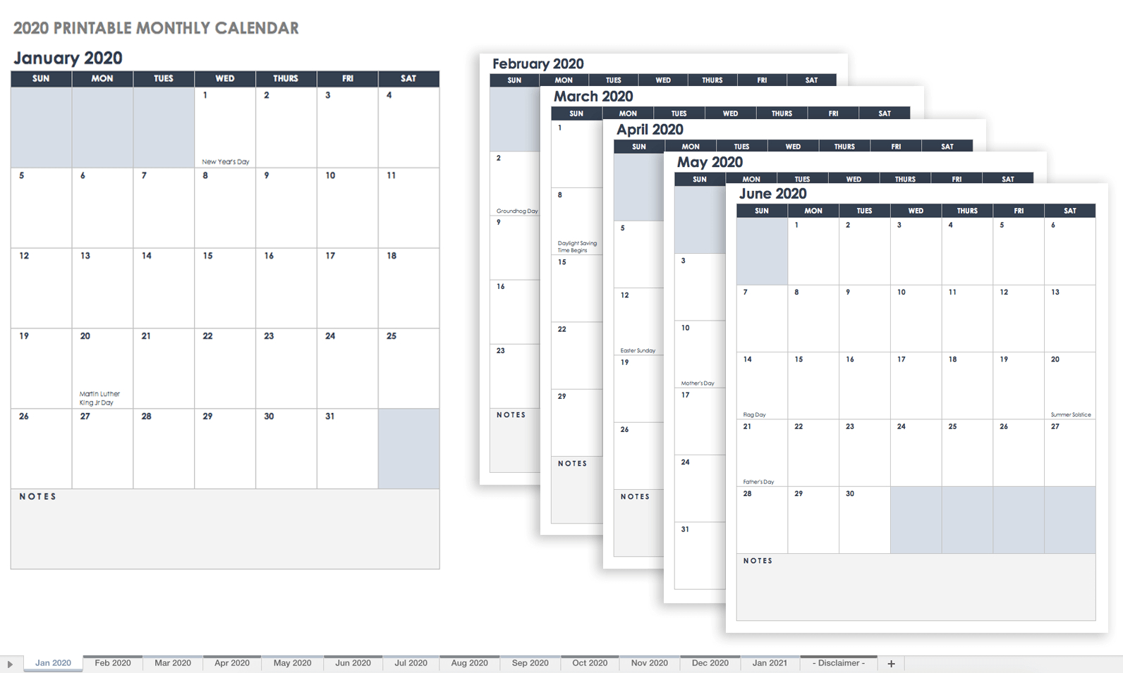 Free Excel Calendar Templates regarding 2020 Calender With Space To Write