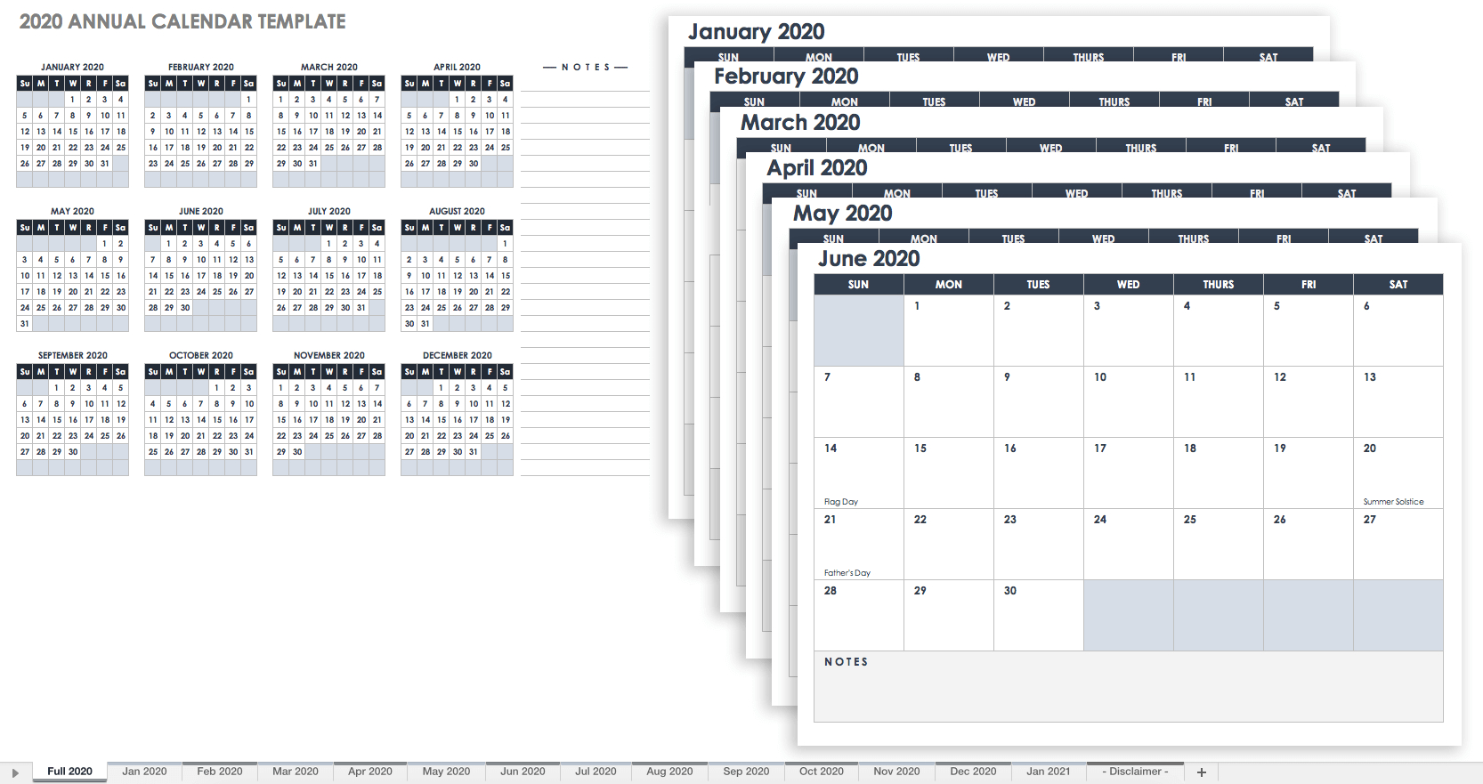 Free Excel Calendar Templates throughout 1 Page Calendar 2019-2020 With Major Holidays