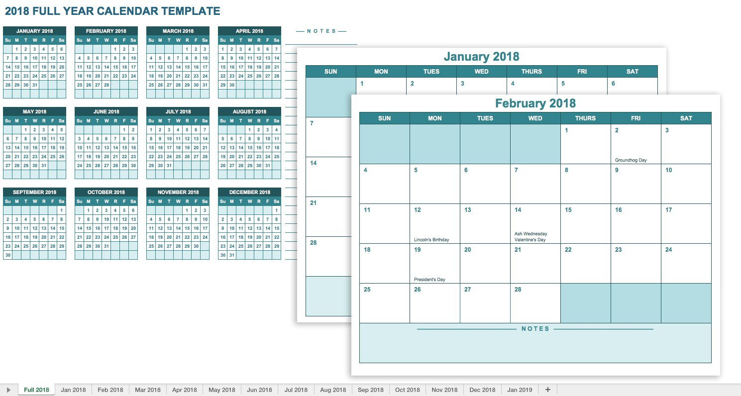 Free Excel Calendar Templates throughout Calendar Template Year At A Glance
