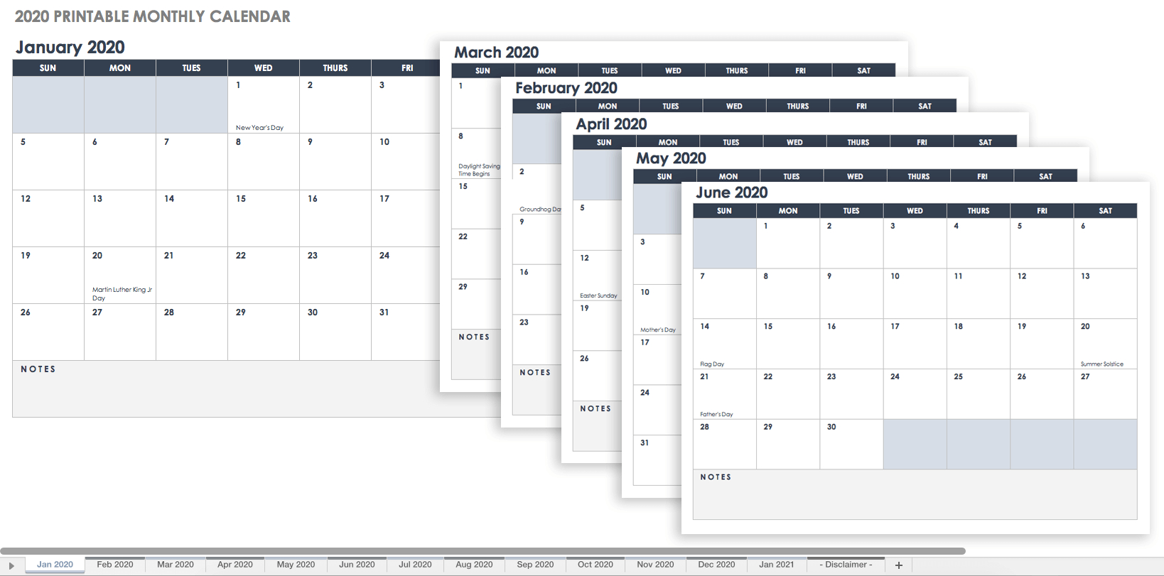 Free Excel Calendar Templates with 2020 Printable Year At A Glance Calendar