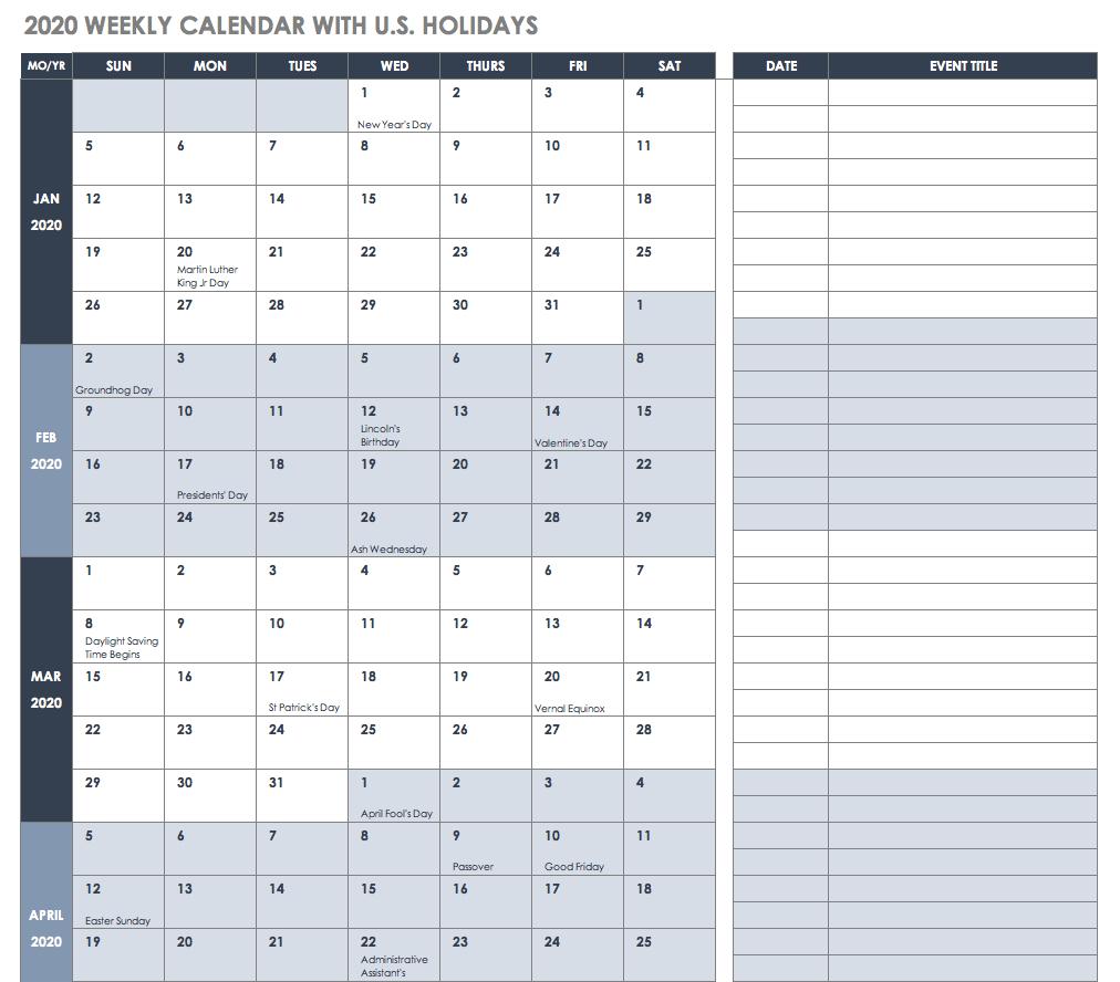 Free Excel Calendar Templates with 2020 Quarterly Calendar Printable Free