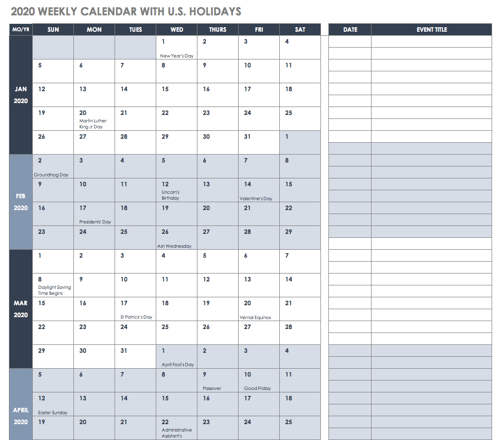 Free Excel Calendar Templates within 7 Day 12 Week Planner Blank