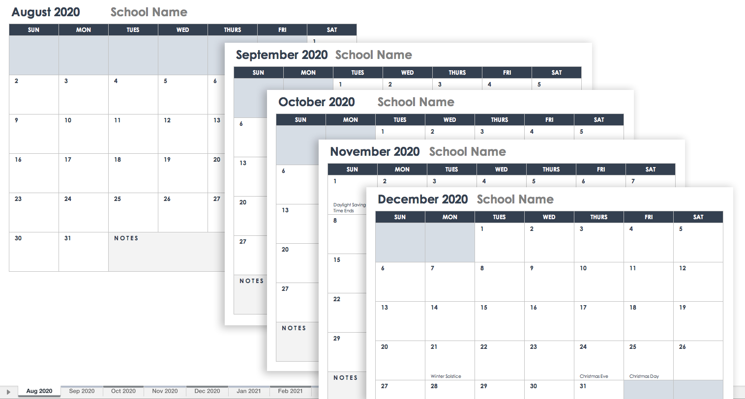 Free Excel Calendar Templates within Template Academic Calendar With Notes