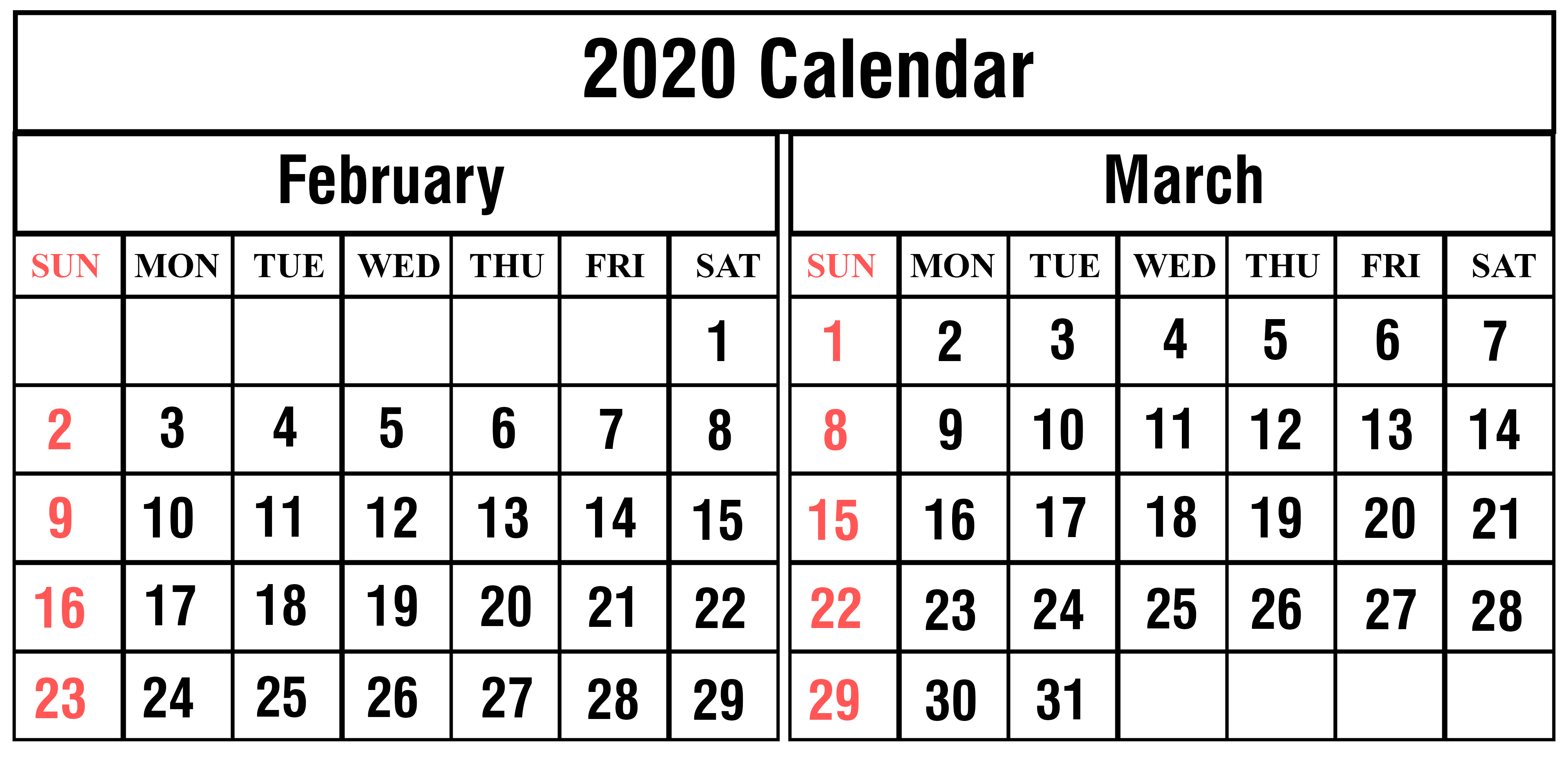 Free February & March 2020 Printable Calendar Templates Download pertaining to Free 8/2019 -5/ 2020 Printable Calendar