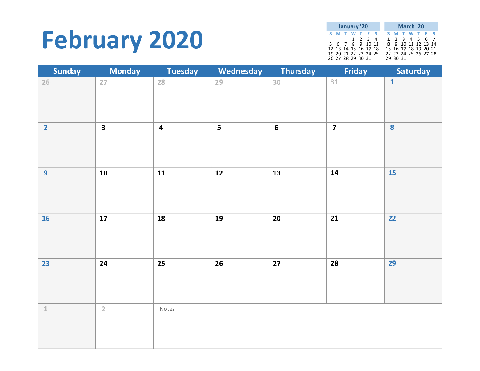 Free February & March 2020 Printable Calendar Templates Download pertaining to Printable 2020 Calendars No Download