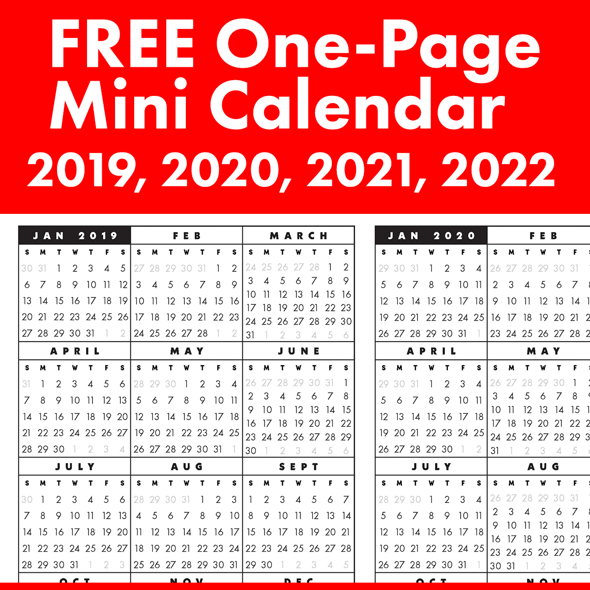 Free Full-Year, Single-Page 2019, 2020, 2021, 2022 At A Glance with Year At A Glance 2020