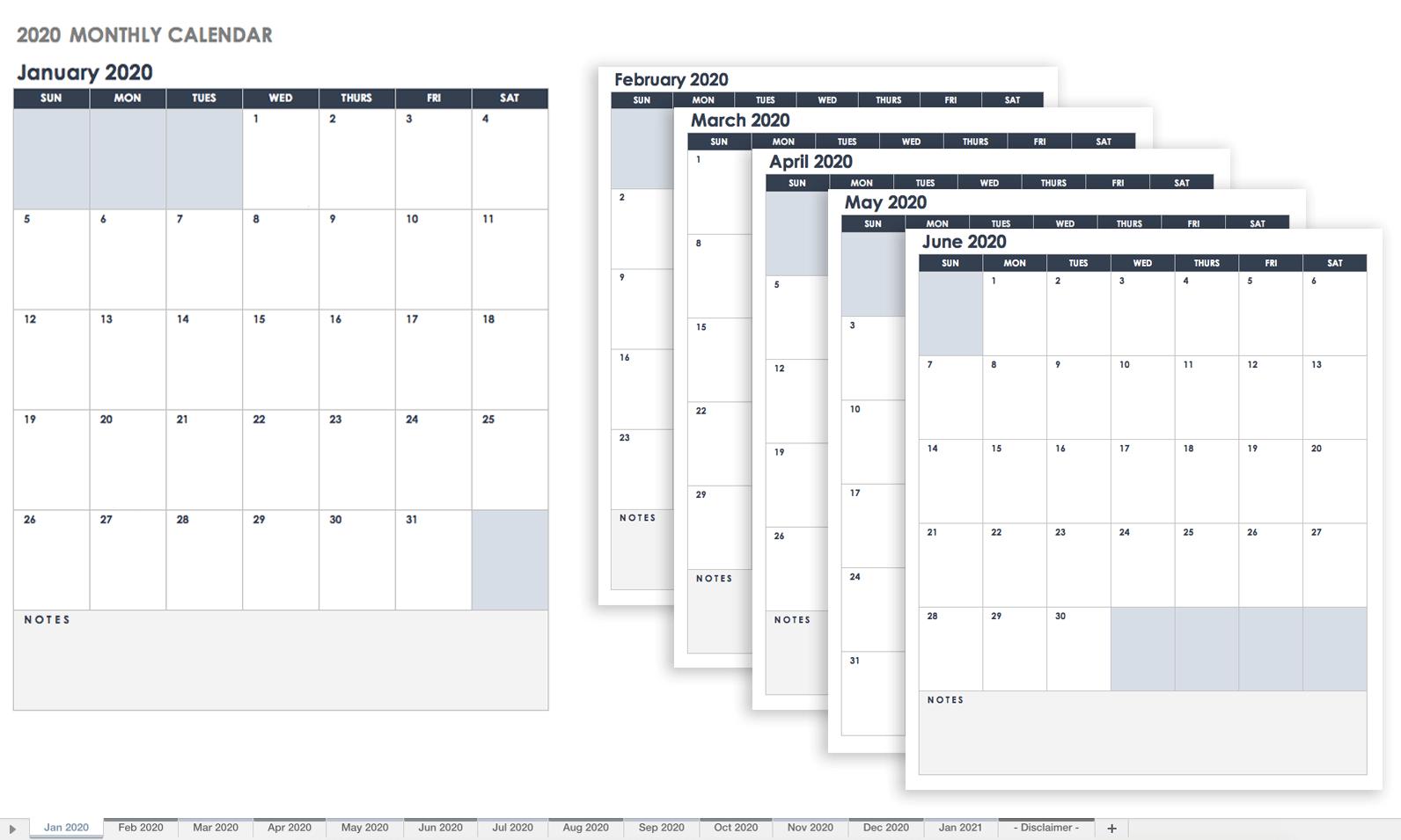 Free Google Calendar Templates | Smartsheet inside 2019-2020 Blank Calendar To Print