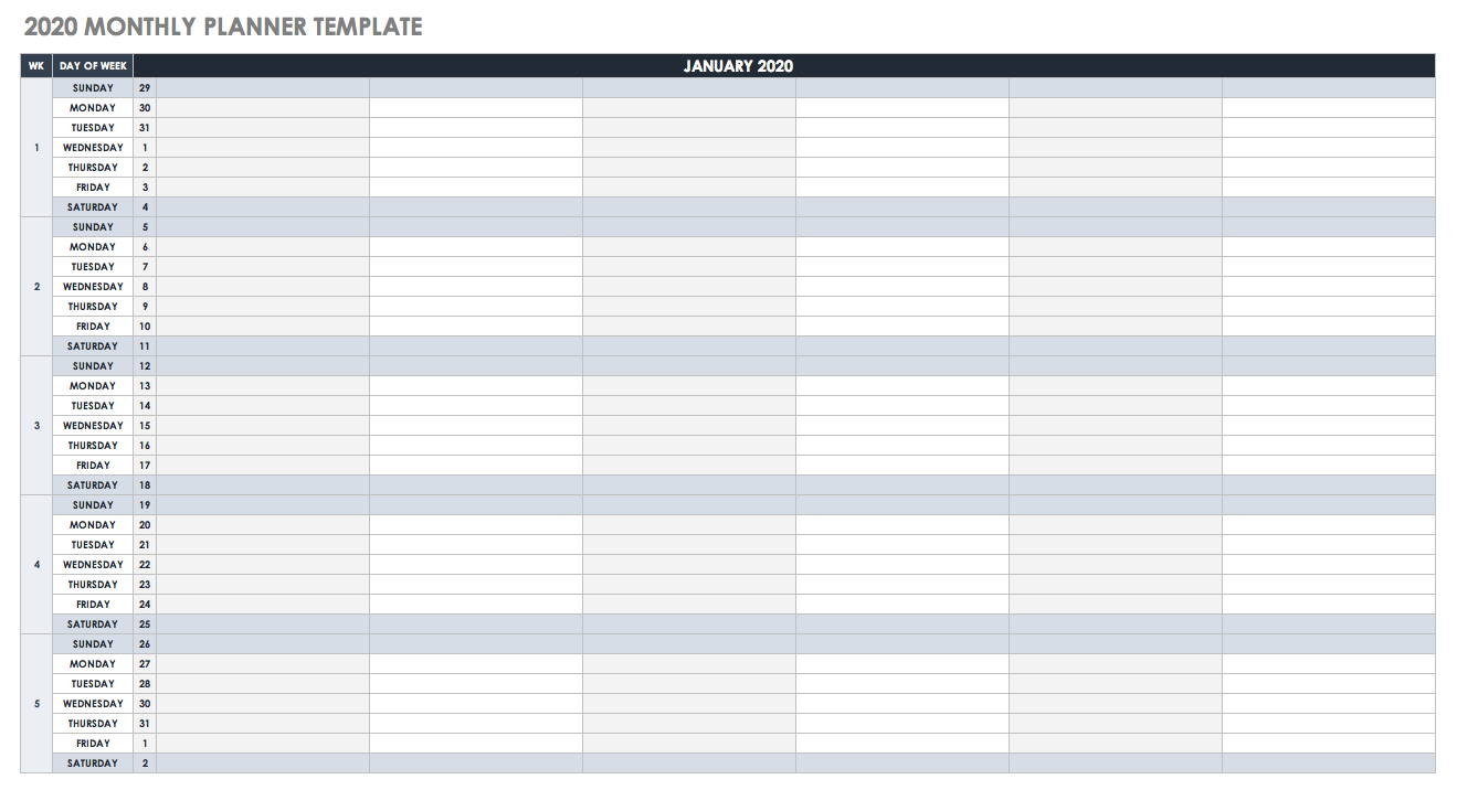 Free Google Calendar Templates | Smartsheet intended for Gant Chart Calendar Year In Weeks For 2020