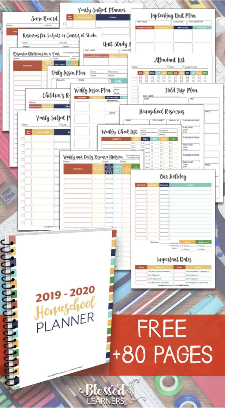 Free Homeschool Planner 2019 - 2020 - Blessed Learners with regard to Free Printable Homeschool Calendar 2019-2020 Year At A Glance