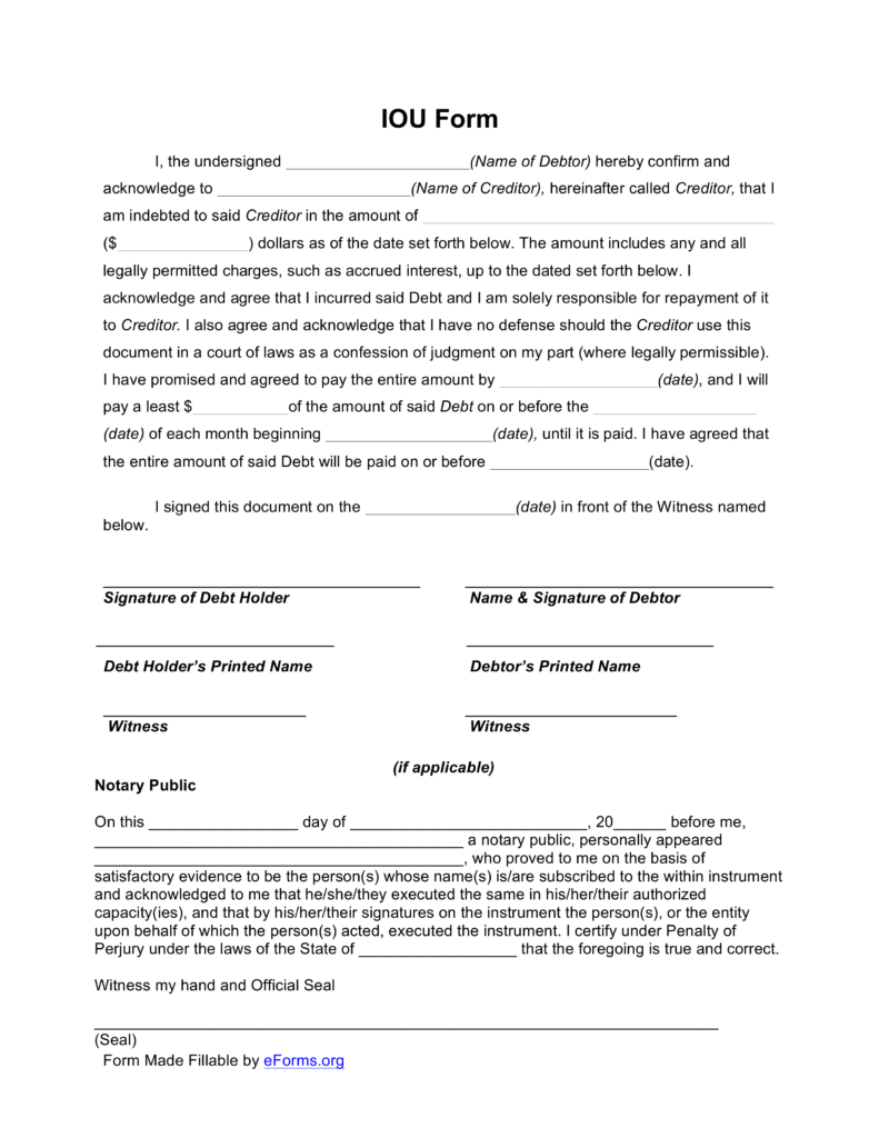 Free I Owe You (Iou) Template - Pdf | Eforms – Free Fillable Forms in Free Printable Blank Templates For Paid And Owed