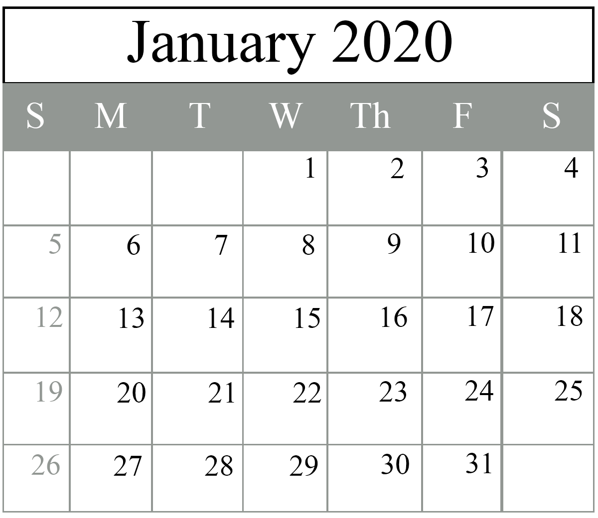 Free January 2020 Calendar Templates {Pdf, Excel, Word} | Printable with 2020 Calender With Space To Write