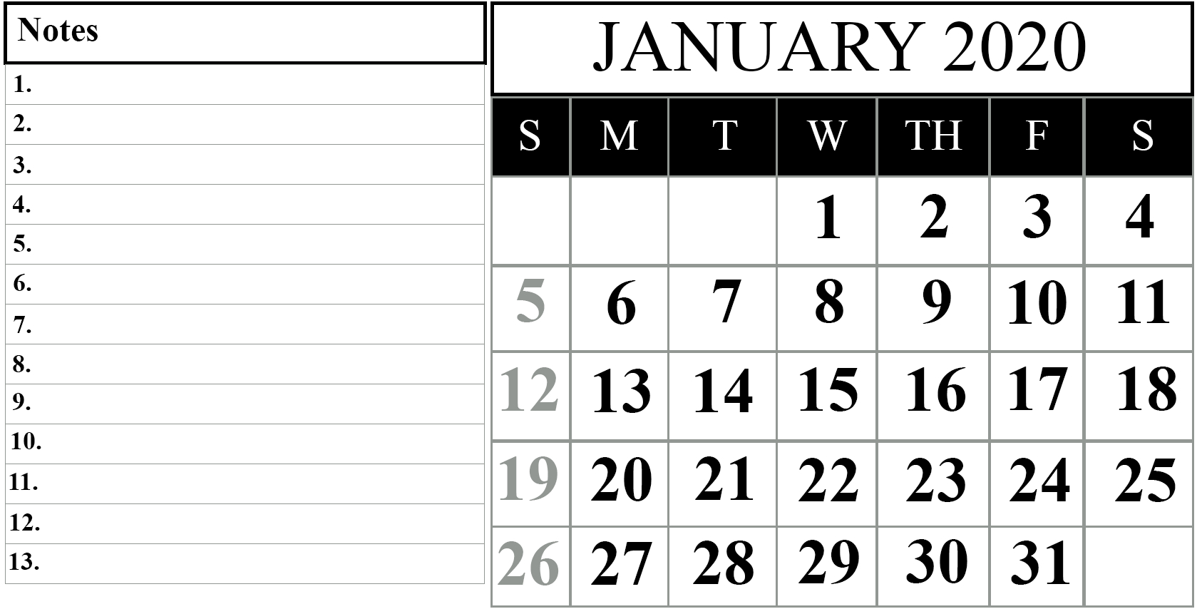 Free January 2020 Printable Calendar In Pdf, Excel & Word in Printable Calendar 2020 That You Can Type In