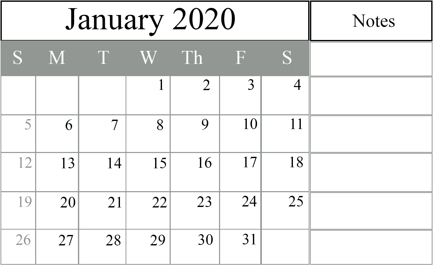 Free January 2020 Printable Calendar In Pdf, Excel & Word pertaining to Free Printable Calendar For 2020 With No Download