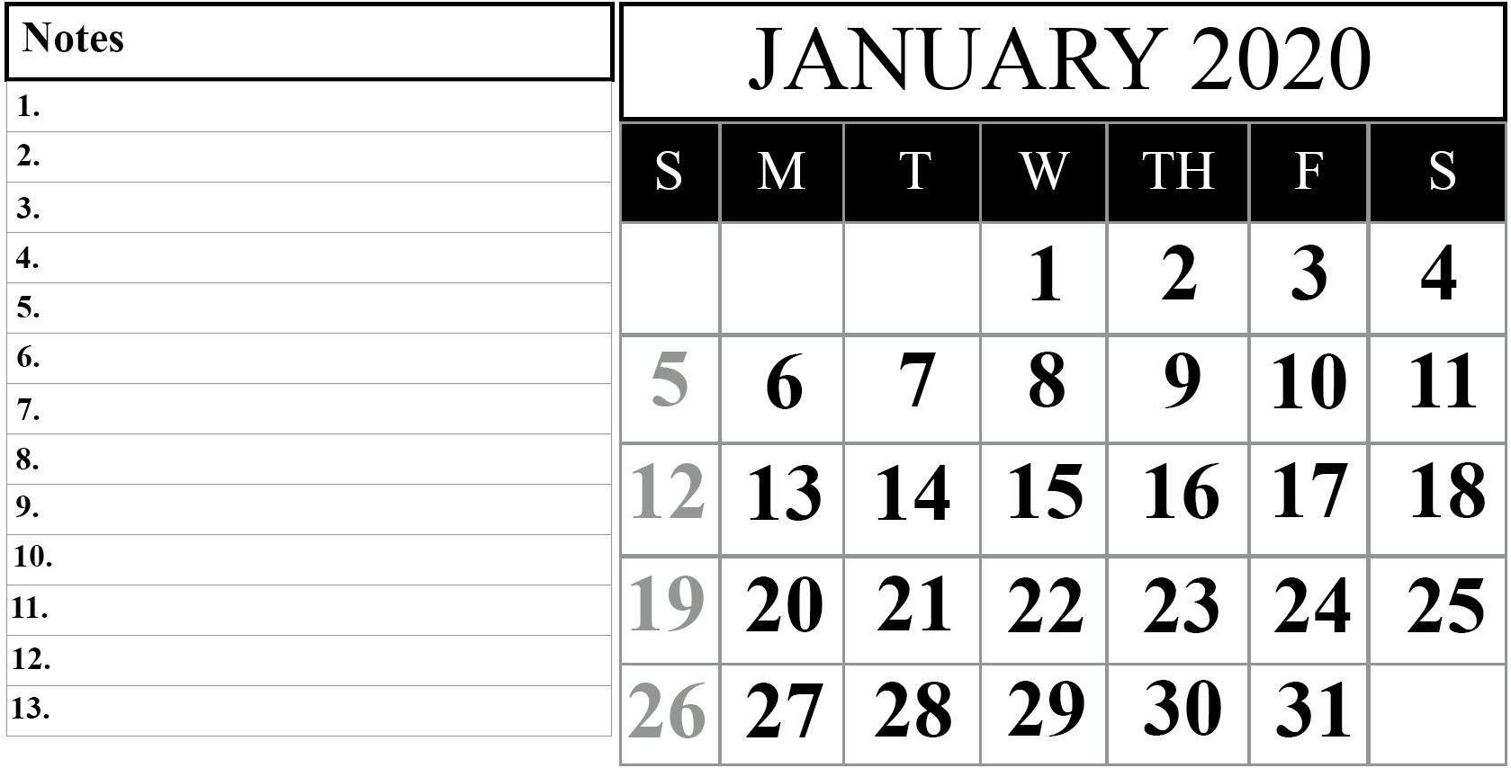 Free January 2020 Printable Calendar In Pdf, Excel & Word regarding 2020 Calendar I Can Edit