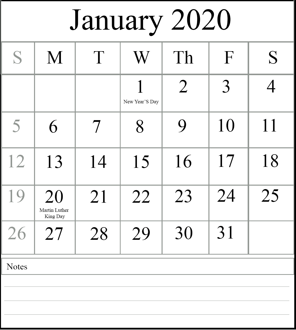Free January 2020 Printable Calendar In Pdf, Excel & Word throughout 2020 Calender With Space To Write