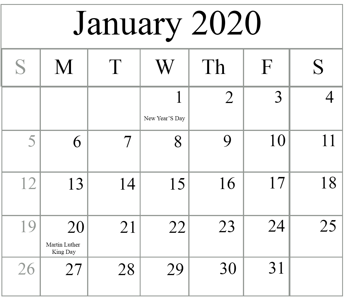 Free January 2020 Printable Calendar In Pdf, Excel & Word with 2020 Free Printable Calendar Large Numbers