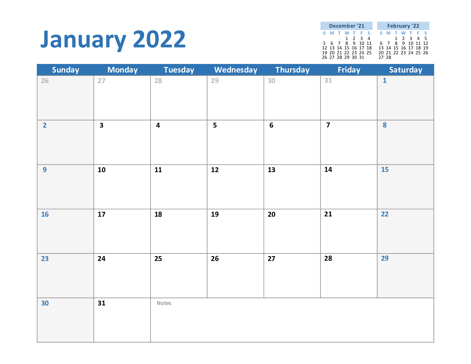Free January 2022 Printable Calendar Template In Pdf, Excel, Word pertaining to Blanket Calender Printables For December