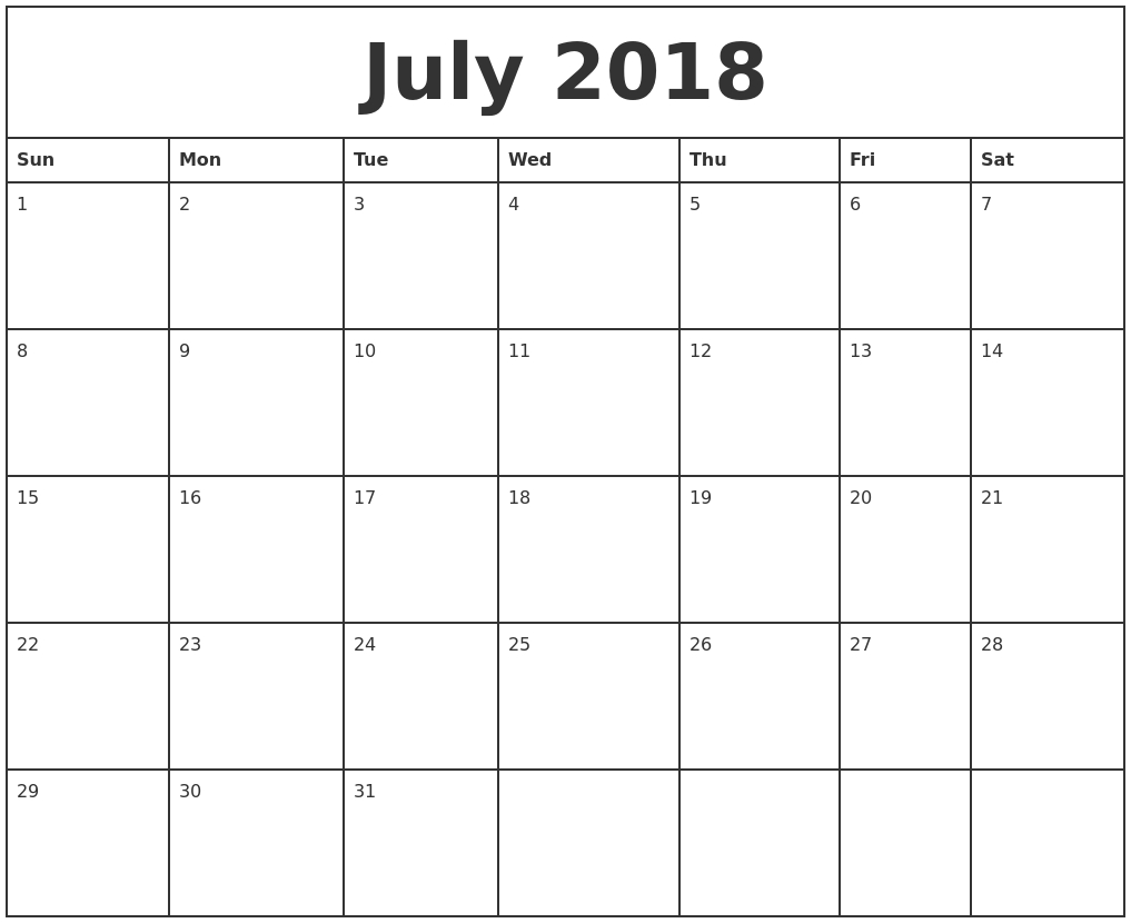 Free July 2018 Calendar In Printable Format Templates - Calendar inside Blank Calendar Month By Month