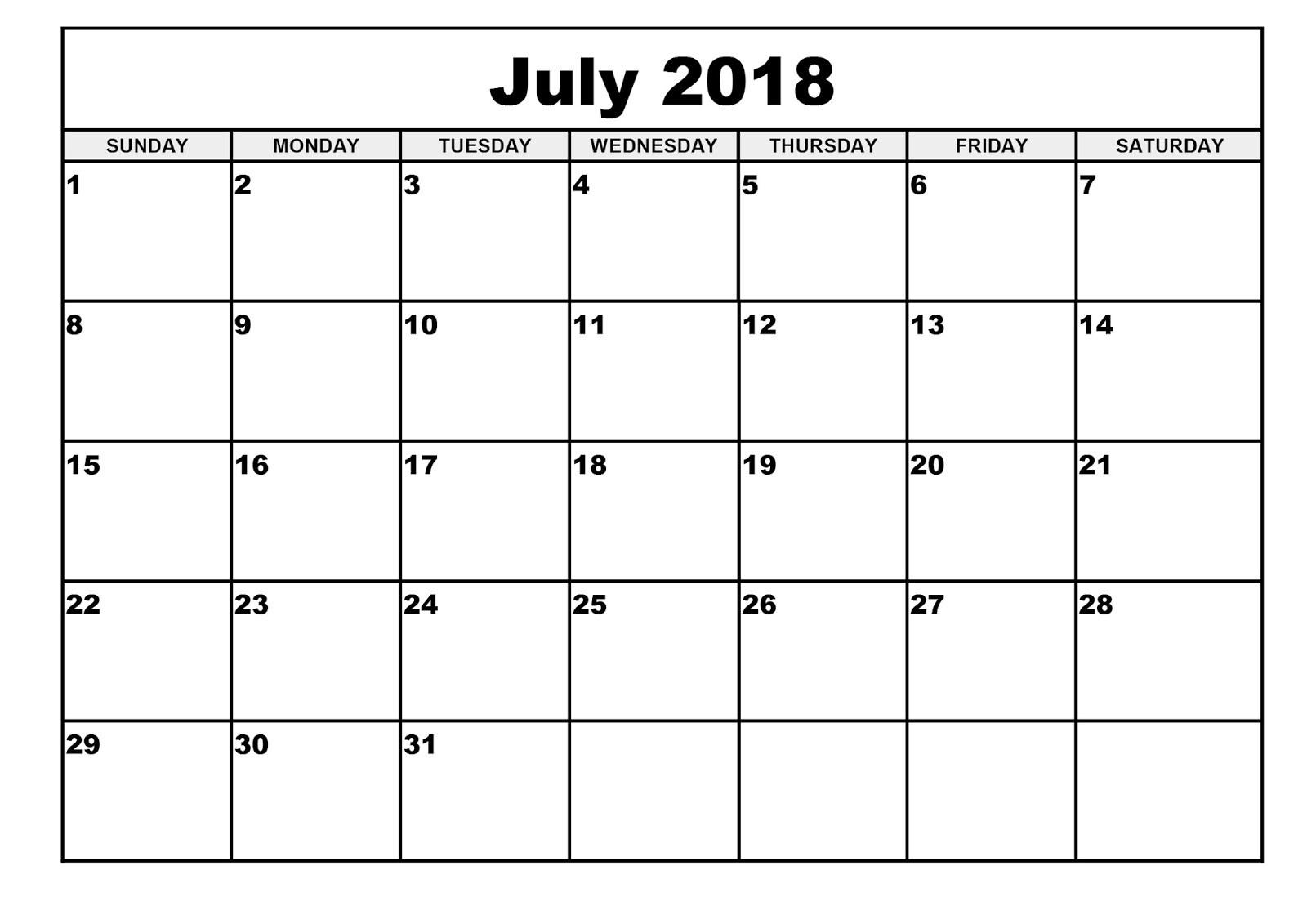 Free July 2018 Calendar Printable Blank Templates - Word Pdf with regard to Blank July Calendar Printable