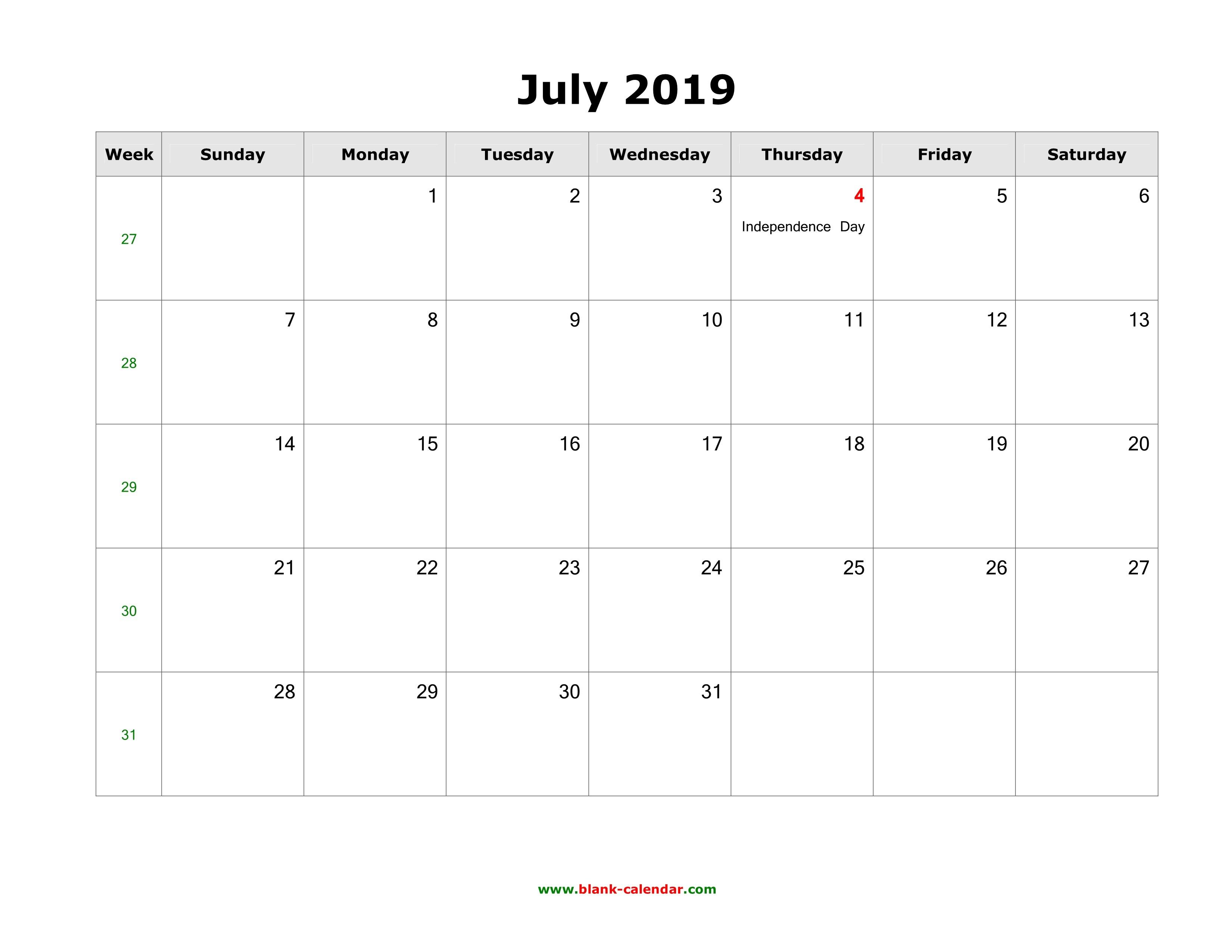 Free July 2019 Weekly Calendar Printable – Week Wise Schedule – June in Printable Weekly Calendar Template July