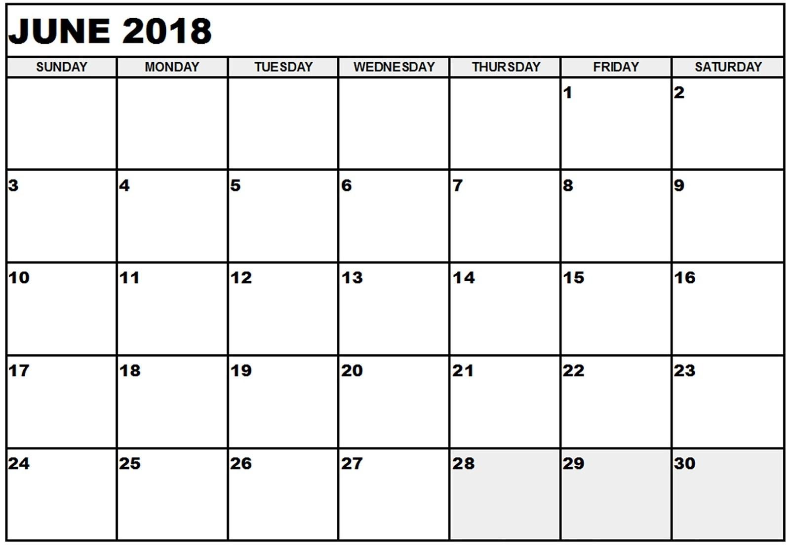 Free June 2018 Calendar Printable Blank Templates - Word Pdf in June Calendar Printable Template