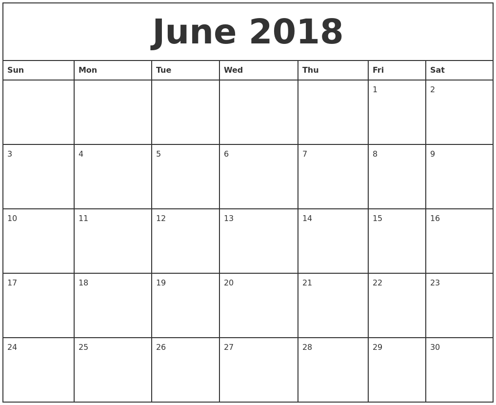 Free June 2018 Calendar Printable Blank Templates - Word Pdf regarding Printable Blank Calendar June