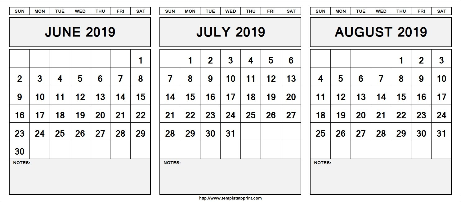 Free** June July August 2019 Calendar 3 Month Printable Templates intended for Blank June July August Calendar