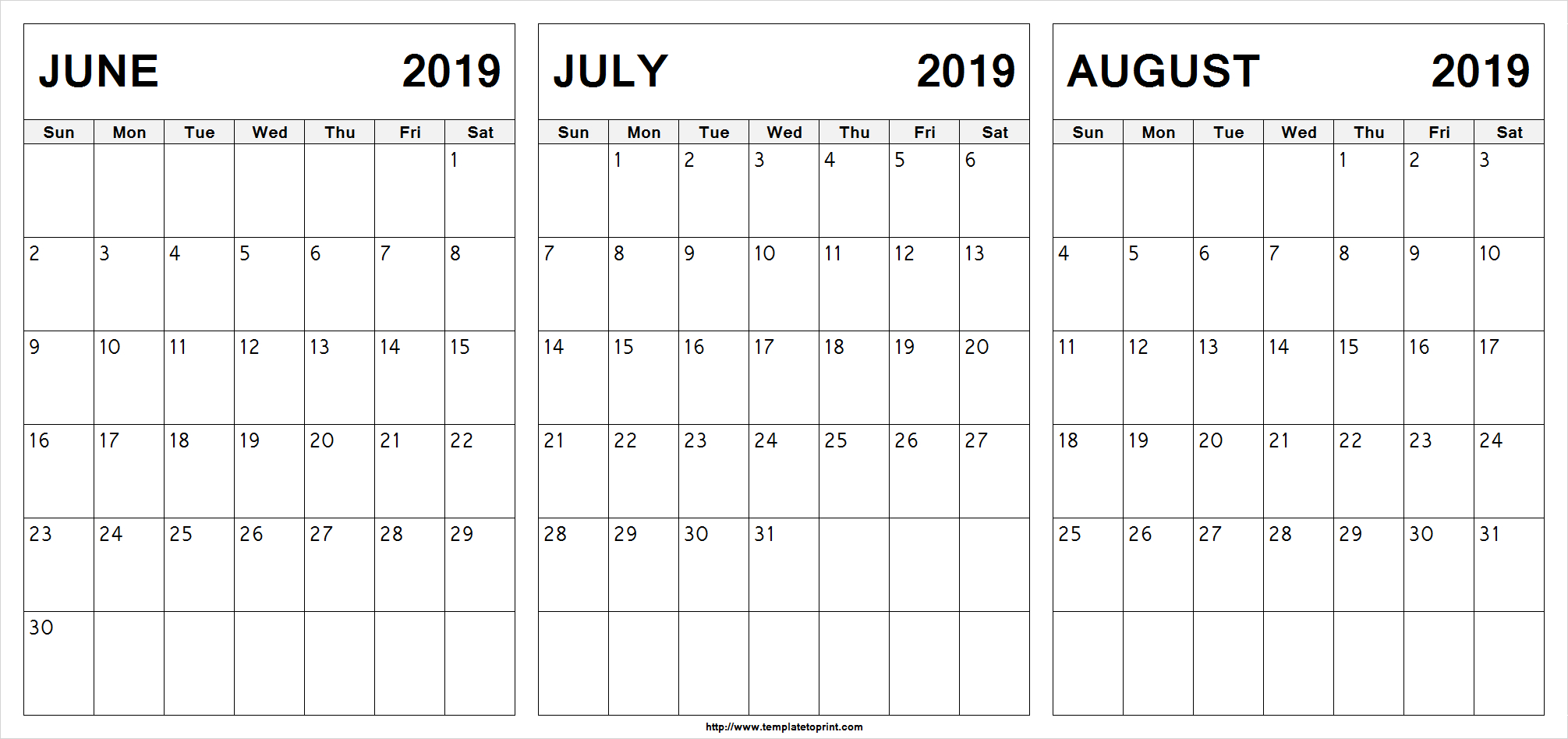 Free June July August 2019 Calendar (3 Months) Printable Template regarding Blank June July August Calendar