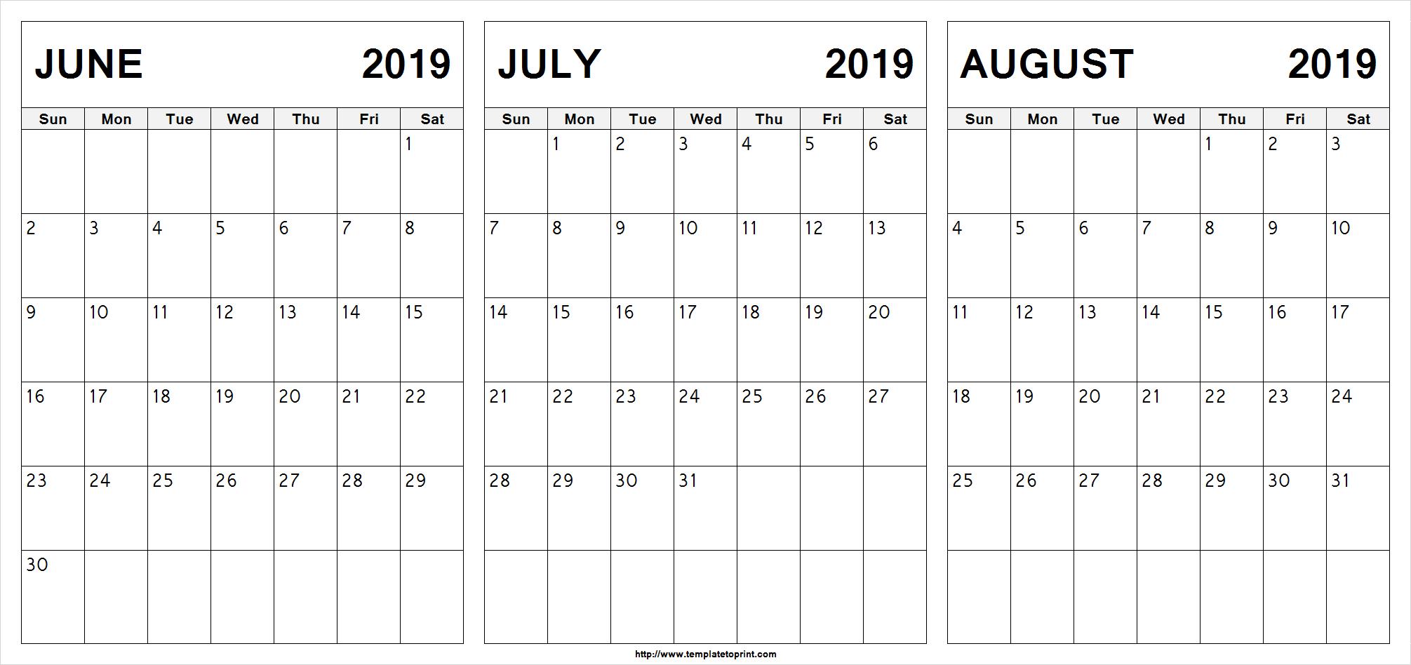 Free June July August 2019 Calendar (3 Months) Printable Template with Blank Calendar June July August