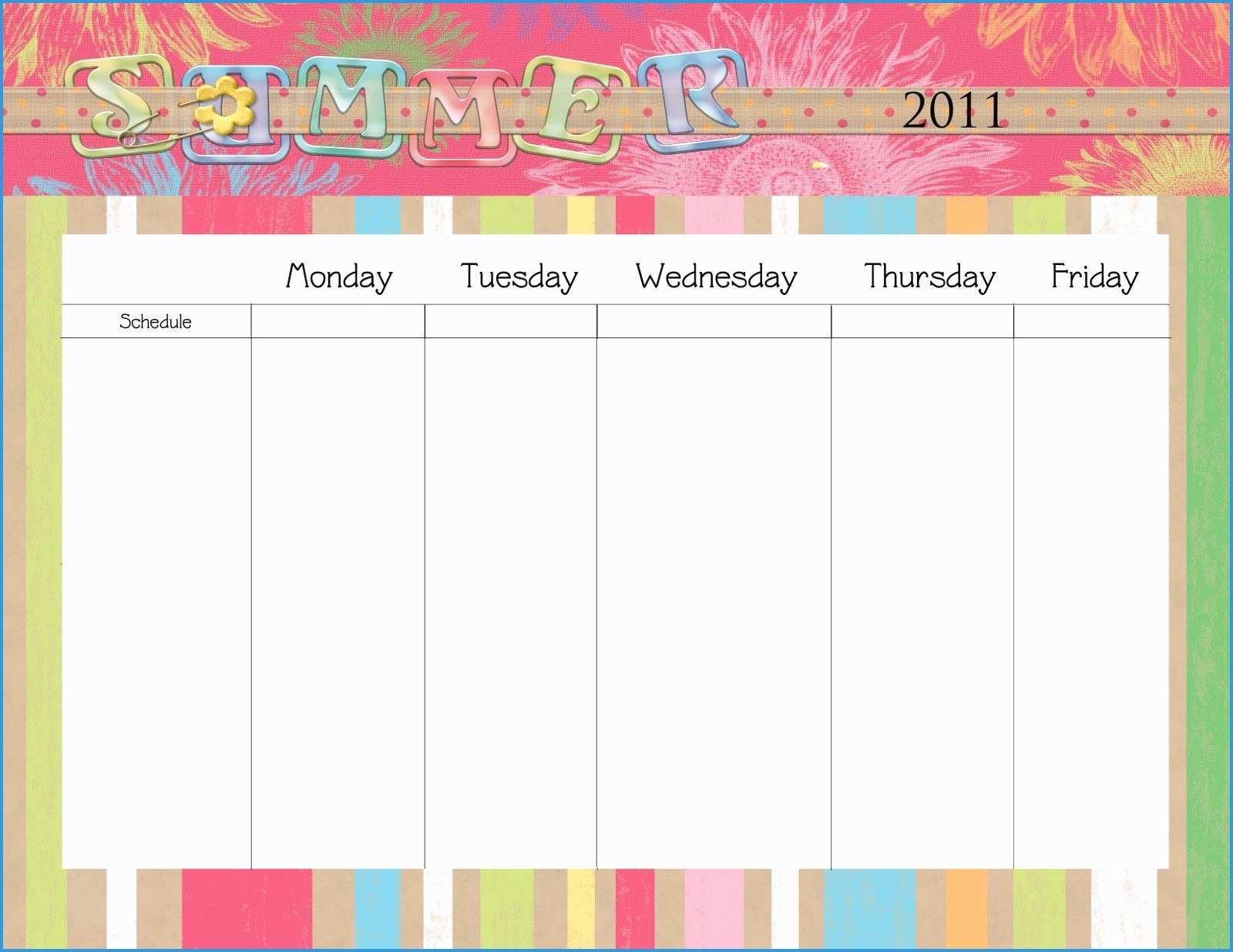 Free Monday Through Friday Calendar Template Marvelous Monday Thru in Template Monday Through Friday Calendar