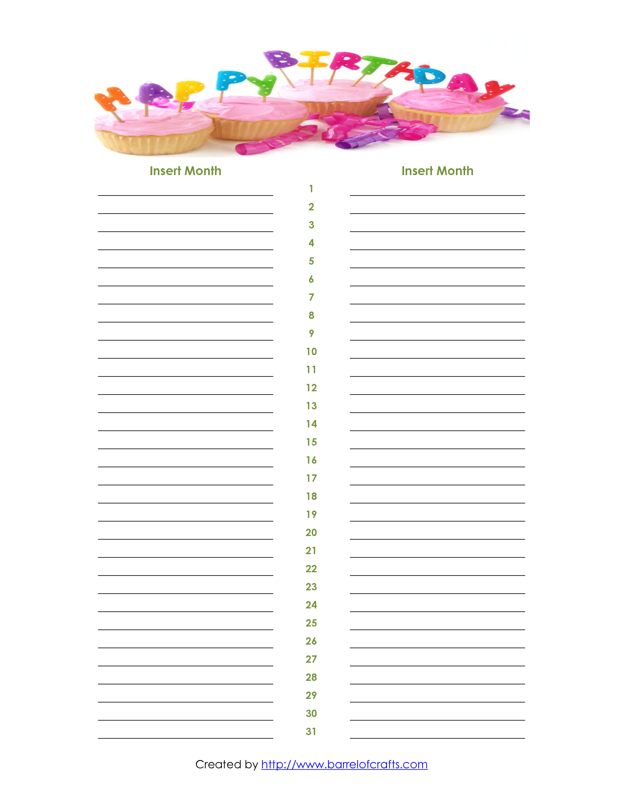 Free Monthly Calendar List   How To Make A Calendar Schedule On Mac pertaining to Monthly Birthday Calendar Template