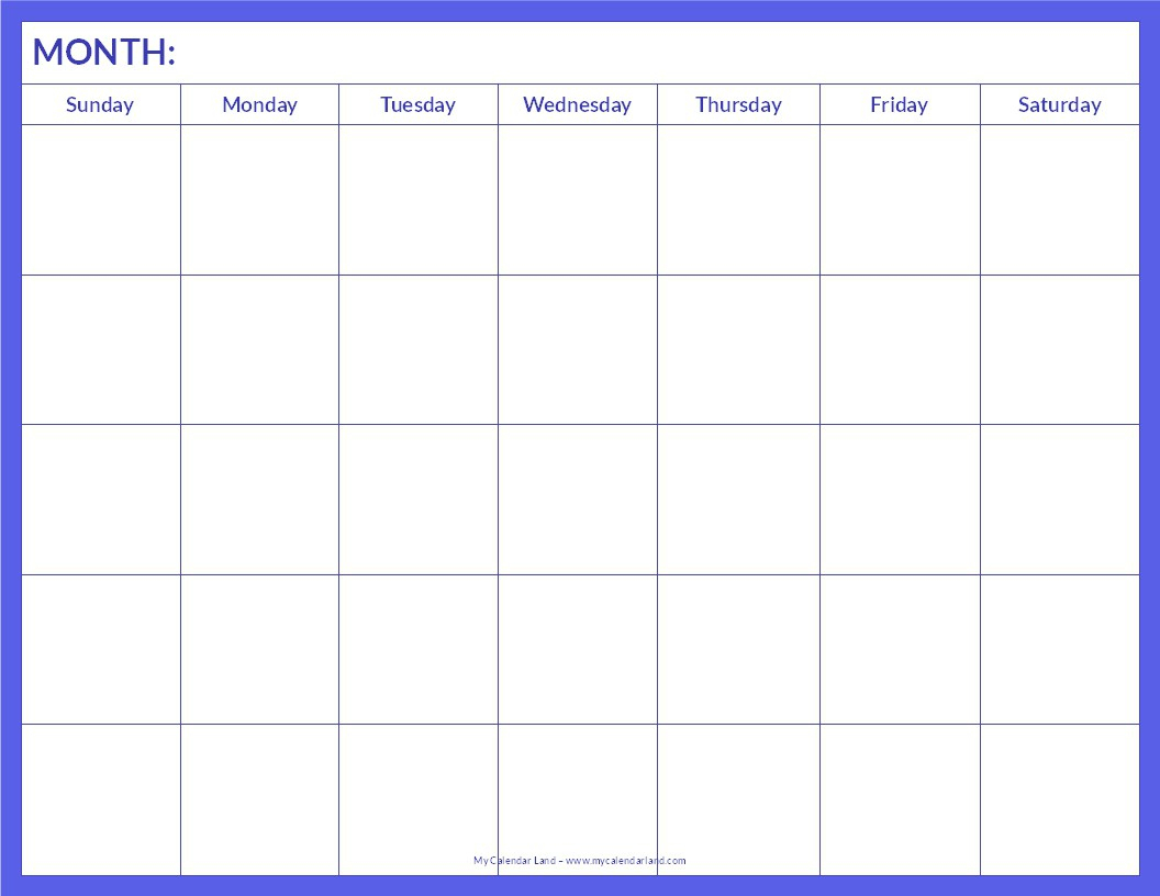 Free Monthly Printable Blank Calendar Templates Online Download Pdf for Free Editable Monthly Calendar Template