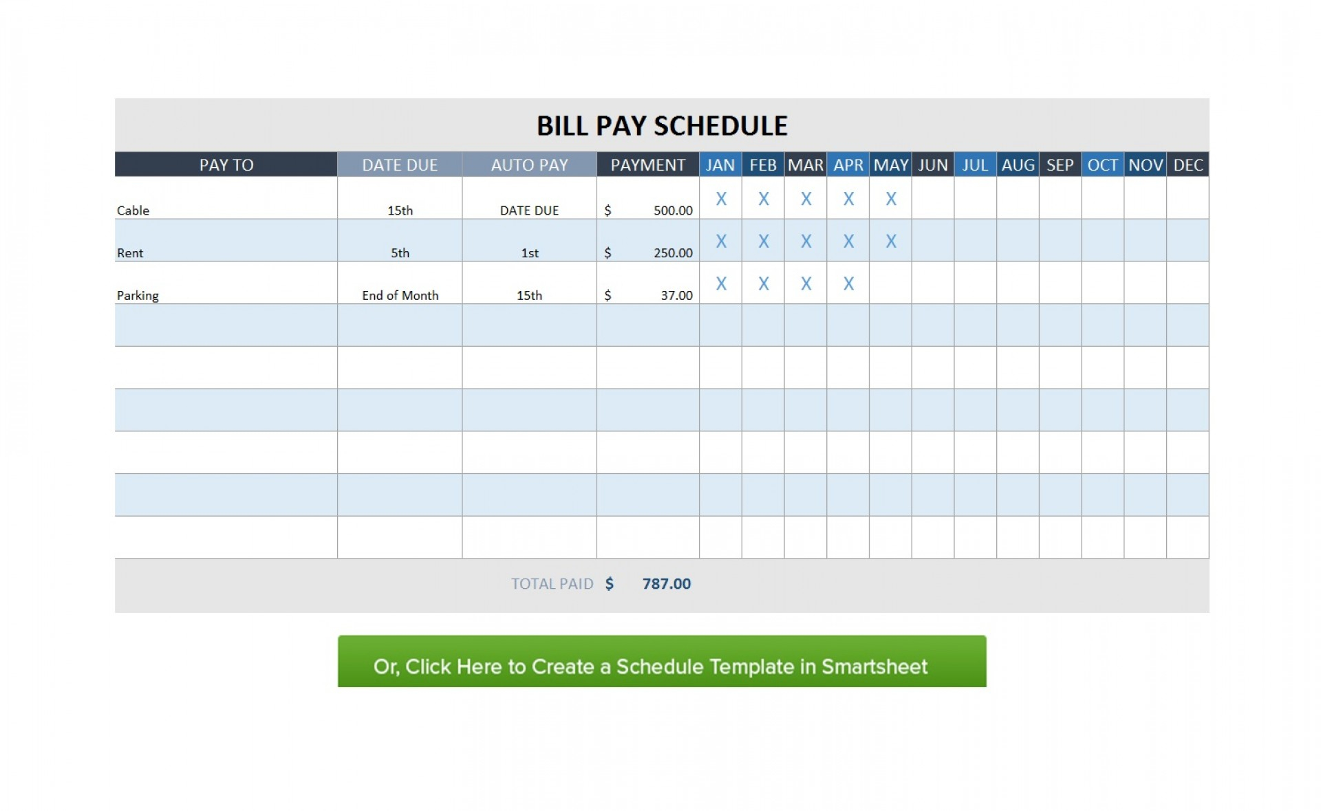 Free Monthly Schedule Ate Bill Planner Excel With Payment Plus for Excel Calendar Template Bill Pay